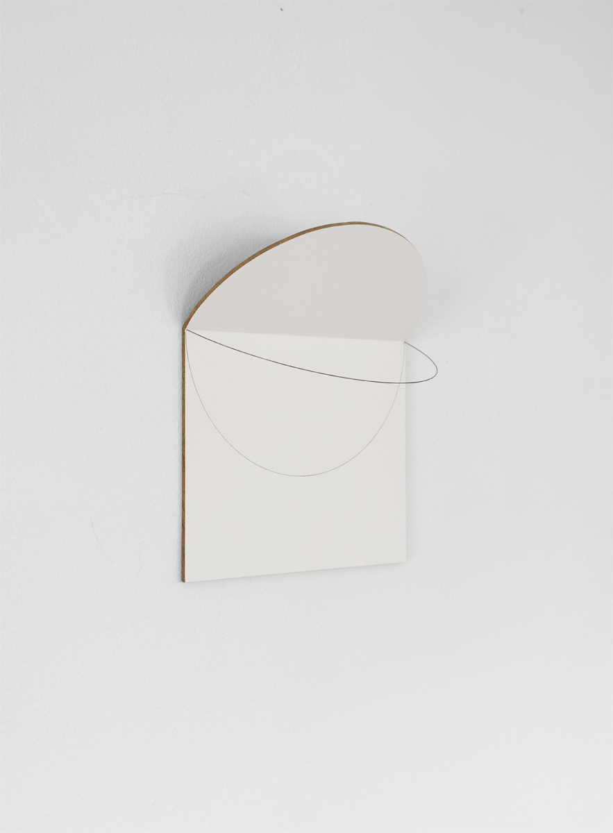 2019. Wood panel, paint, pencil line, metal rod, shadow. 8.3 x 7 x 3 in. - Marc Straus Gallery