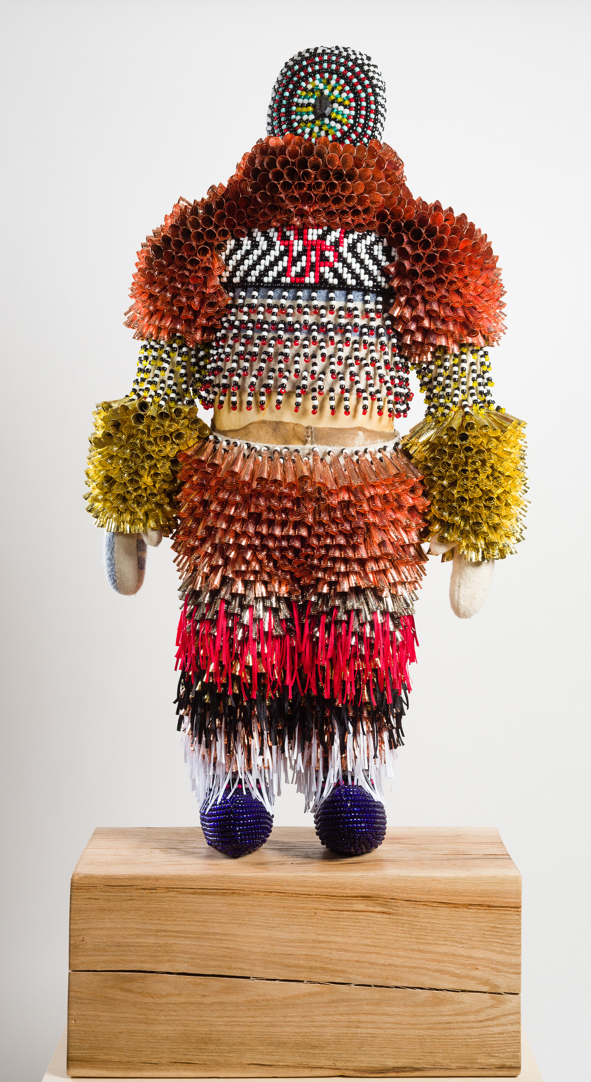 2016 Recycled wool, glass beads, artificial sinew, druzy agate stone, copper jingles, nylon fringe, repurposed wood block, custom maple pedestal 85 x 28 x 12 inches (216 x 71 x 30.5 cm) with pedestal - Marc Straus Gallery