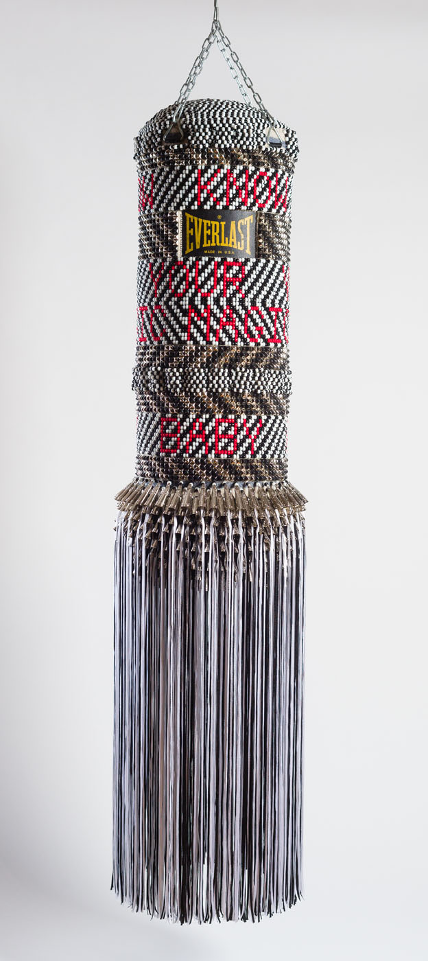 2016 Repurposed Punching Bag, Repurposed  Wool Army Blanket, Glass Beads, Metal Studs, Tin Jingles, Artificial Sinew, Nylon Fringe and Steel 80 x 14 x 14 in 203.2 x 35.6 x 35.6 cm - Marc Straus Gallery