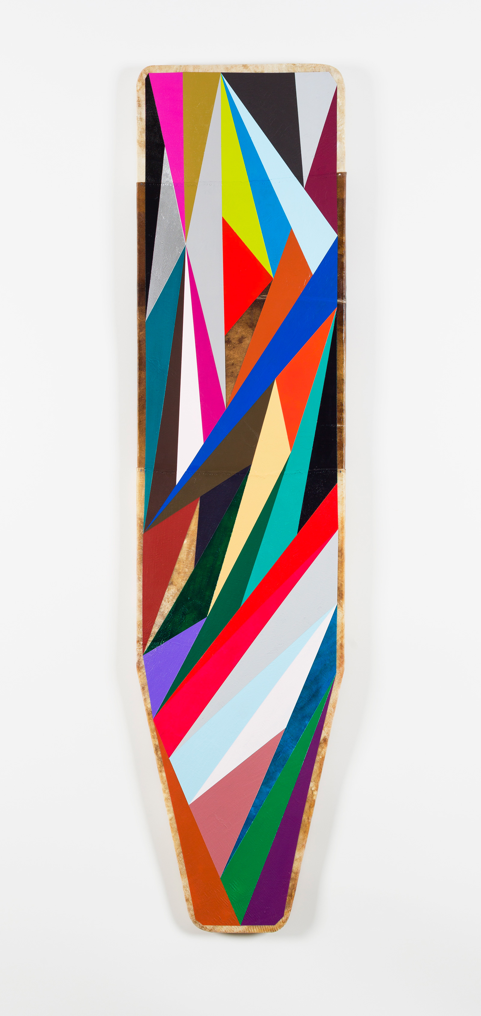 2013 Elk hide over antique ironing board, acrylic paint, graphite 54 x 13 inches (137.2 x 33 cm)  - Marc Straus Gallery
