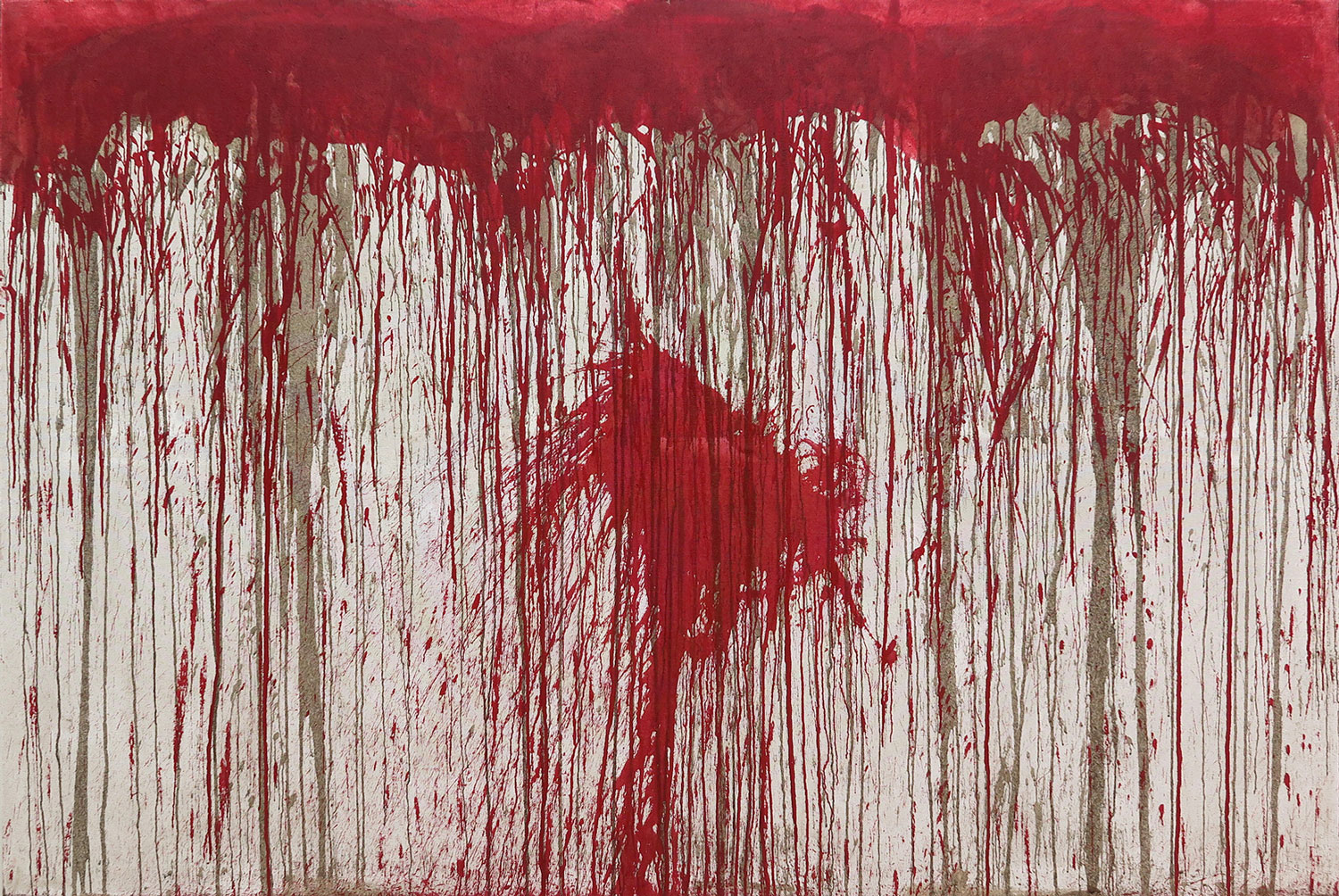 Hermann Nitsch 2010 Blood and Acrylic on Canvas 78 3/4 x 118 1/4 in 200 x 300 cm 2015 Marc Straus Gallery