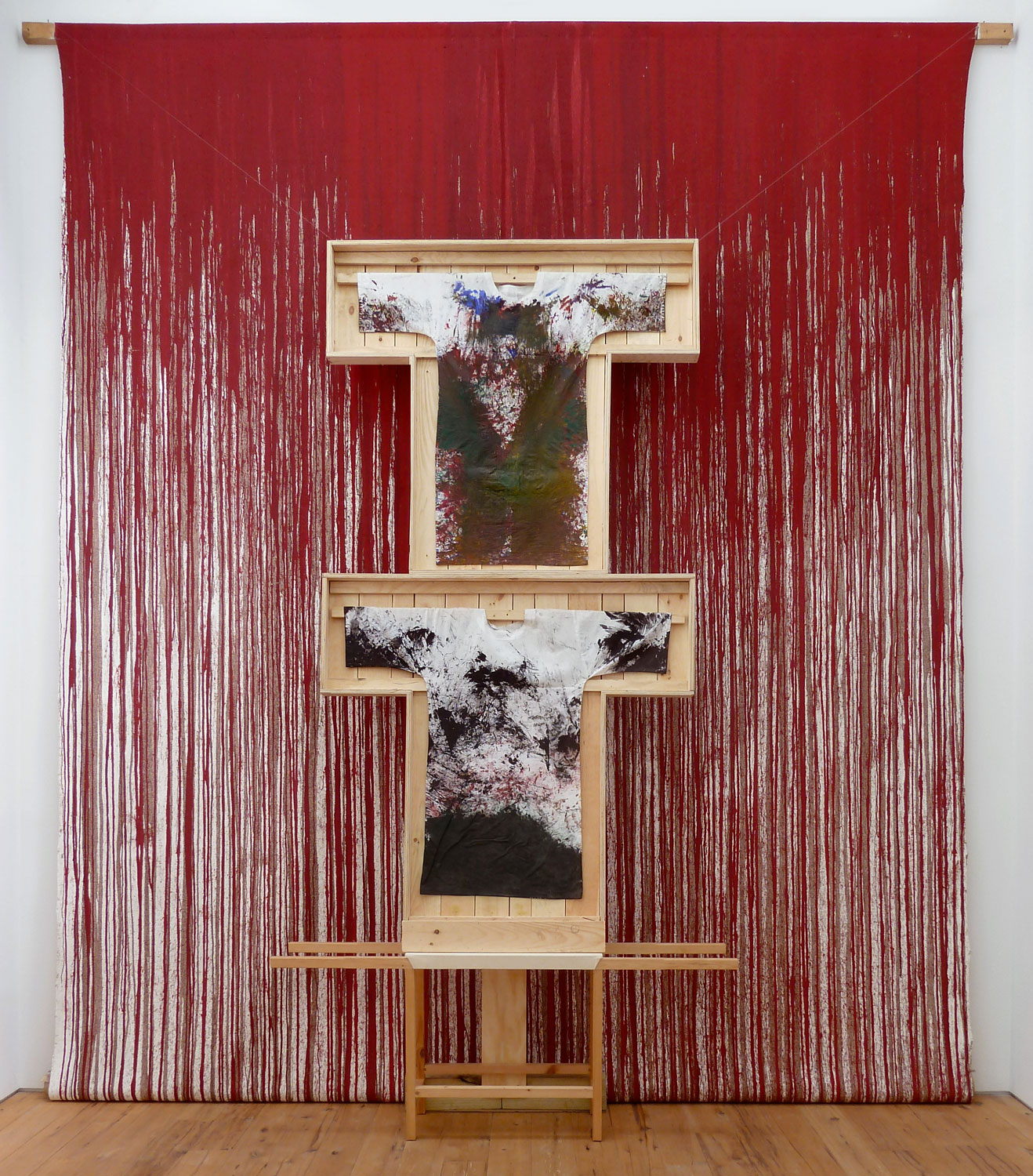 Hermann Nitsch 2011 Acrylic on Canvas 212 1/2 x 157 1/2 in 540 x 400 cm 2015 Marc Straus Gallery