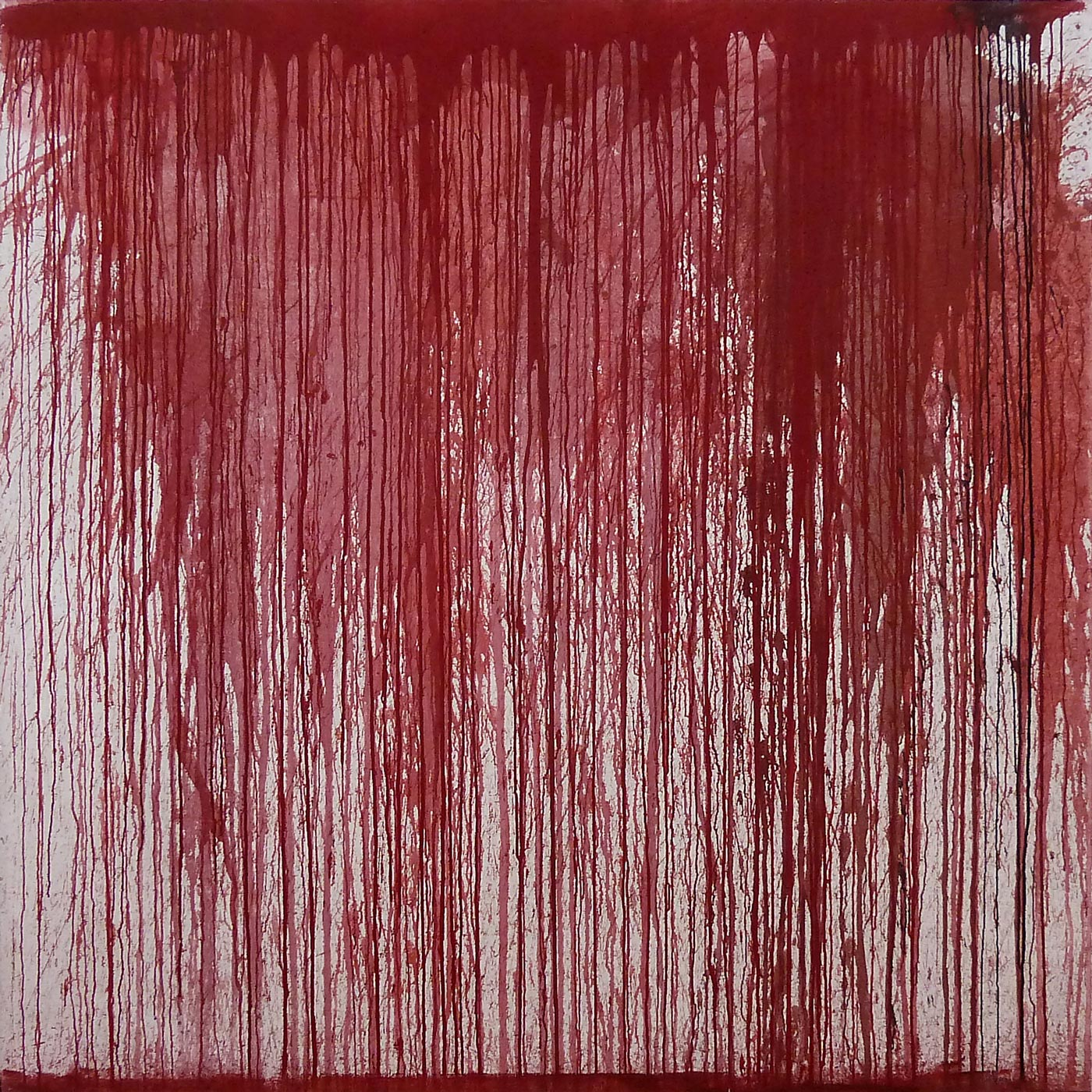 Hermann Nitsch 2013 Acrylic on Canvas 78 3/4 x 78 3/4 in 200 x 200 cm 2015 Marc Straus Gallery