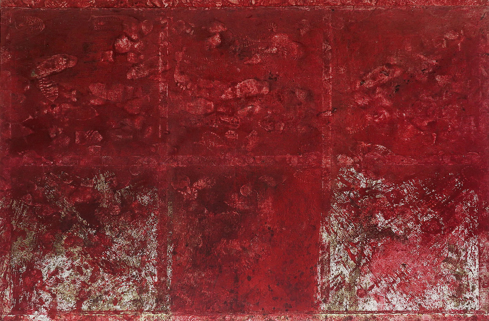 Hermann Nitsch 1998 Blood and Acrylic on Canvas 78 3/4 x 118 1/4 in 200 x 300 cm 2015 Marc Straus Gallery