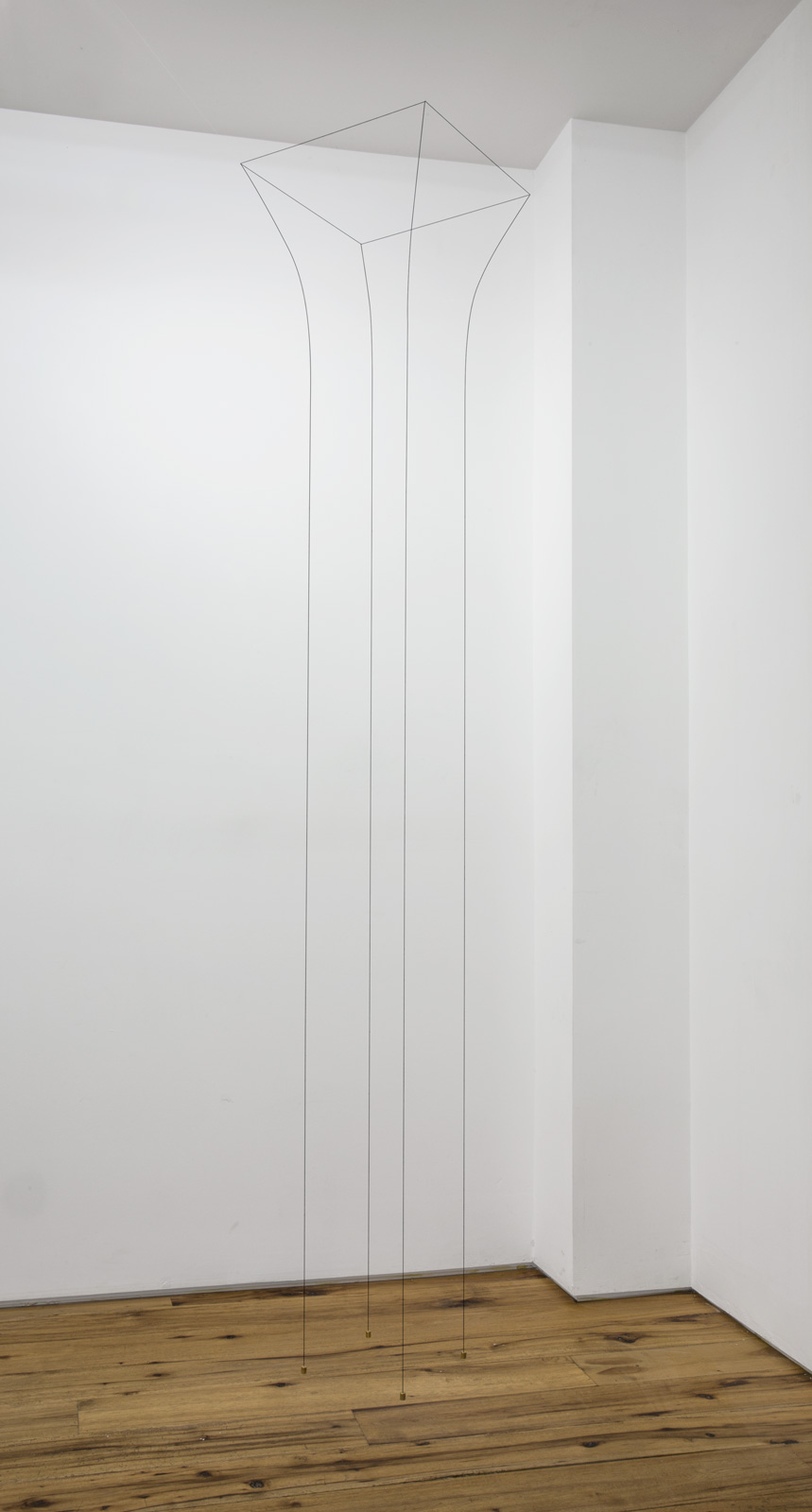 Jong Oh 2016 String, fishing wire, metal rod, weight, paint 97 x 17 x 17 inches 2016 Marc Straus Gallery