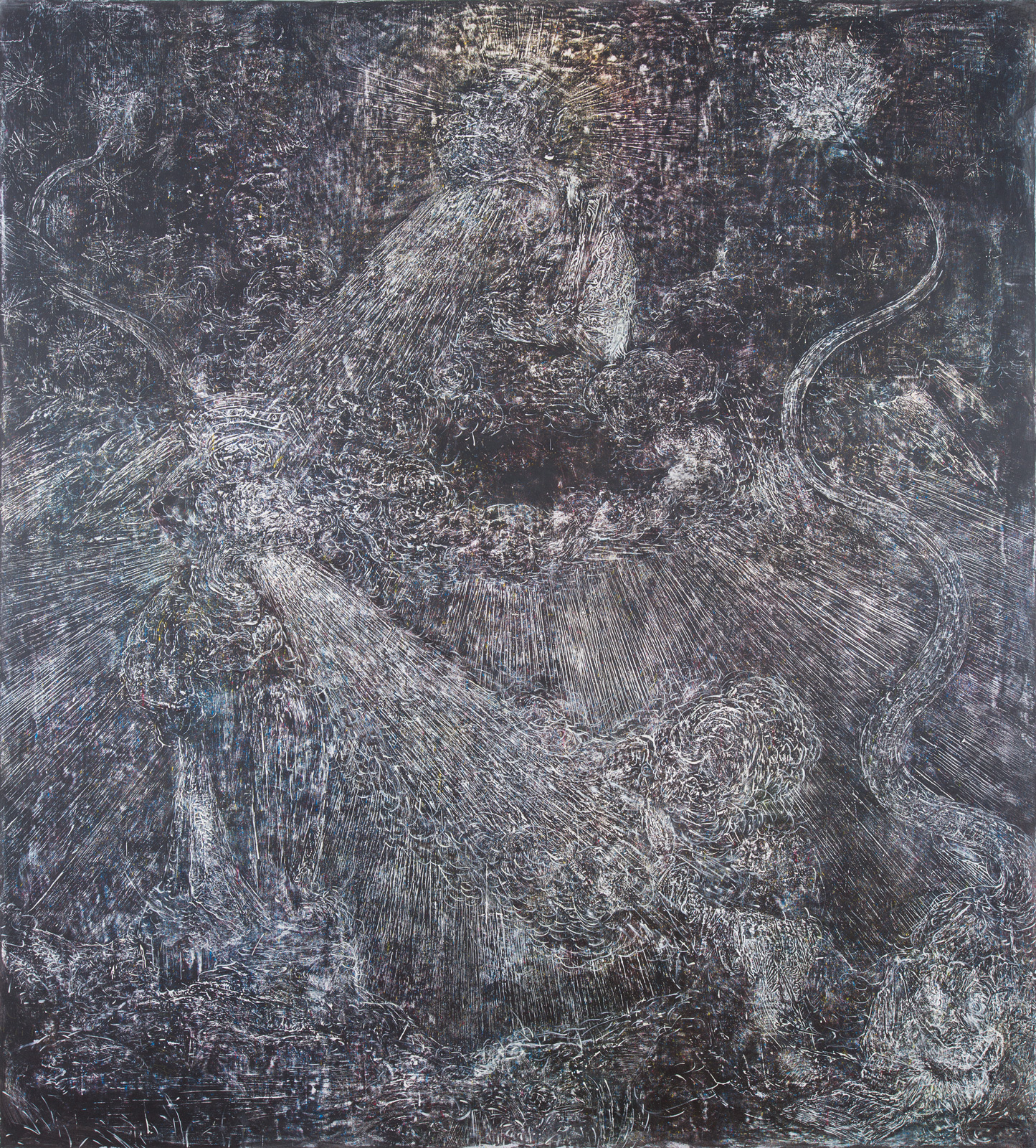 Marin Majić 2016 Acrylic Gesso, Pigmented Spray Paint, Oil, Pigmented Color Pencils on Linen 94.49 x 86.61 inches 240 x 220 cm 2016 Marc Straus Gallery