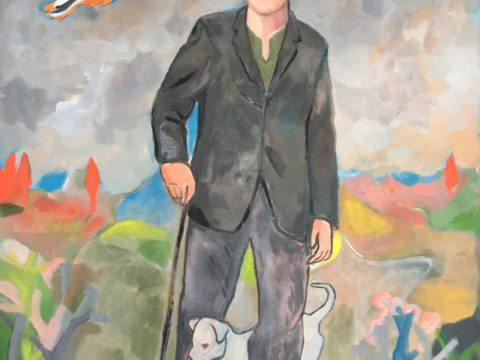 The Wayfarer with His Cane (Dog In Italian)