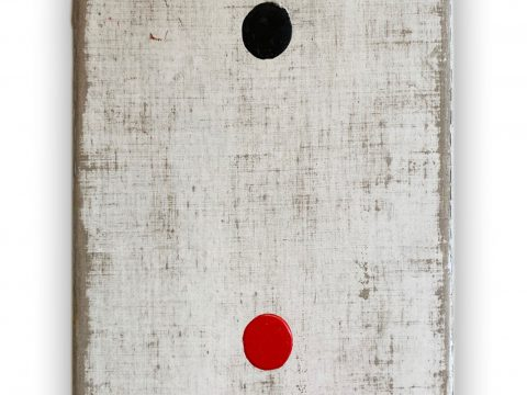 White Rectangle with Black and Red Circles