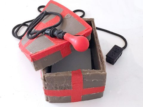 Rubber 'Cardboard' Box (Red Tape) with Invisible Text