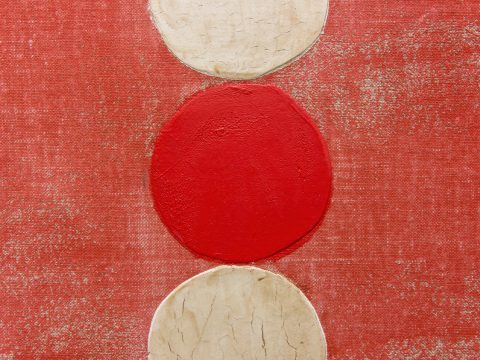 Red with One Red and Two White Circles (Detail)