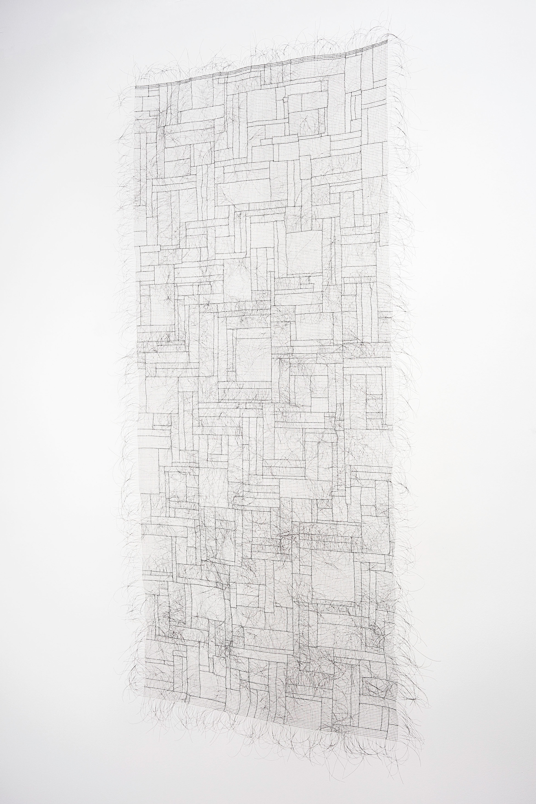 SUTURES The Membrane 2017 Artist's hair and glue 60 x 30 in (152.4 x 76.2 cm)   2018 Marc Straus Gallery