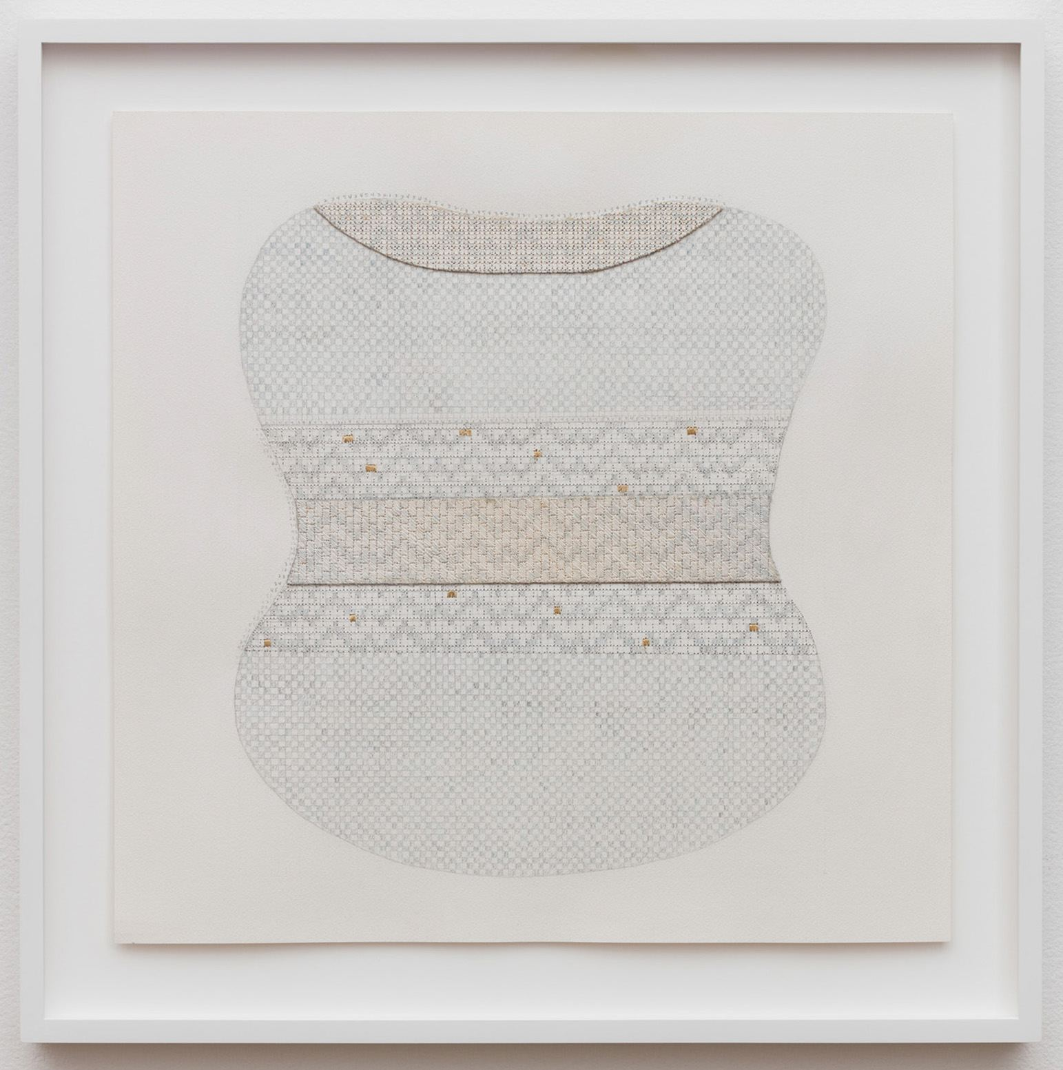 SUTURES Curves 6 2017 Ink, pencil, and embroidered thread on paper 22 x 22 x 1.5 in (55.9 x 55.9 x 3.8 cm) Courtesy of bitforms gallery, New York 2018 Marc Straus Gallery