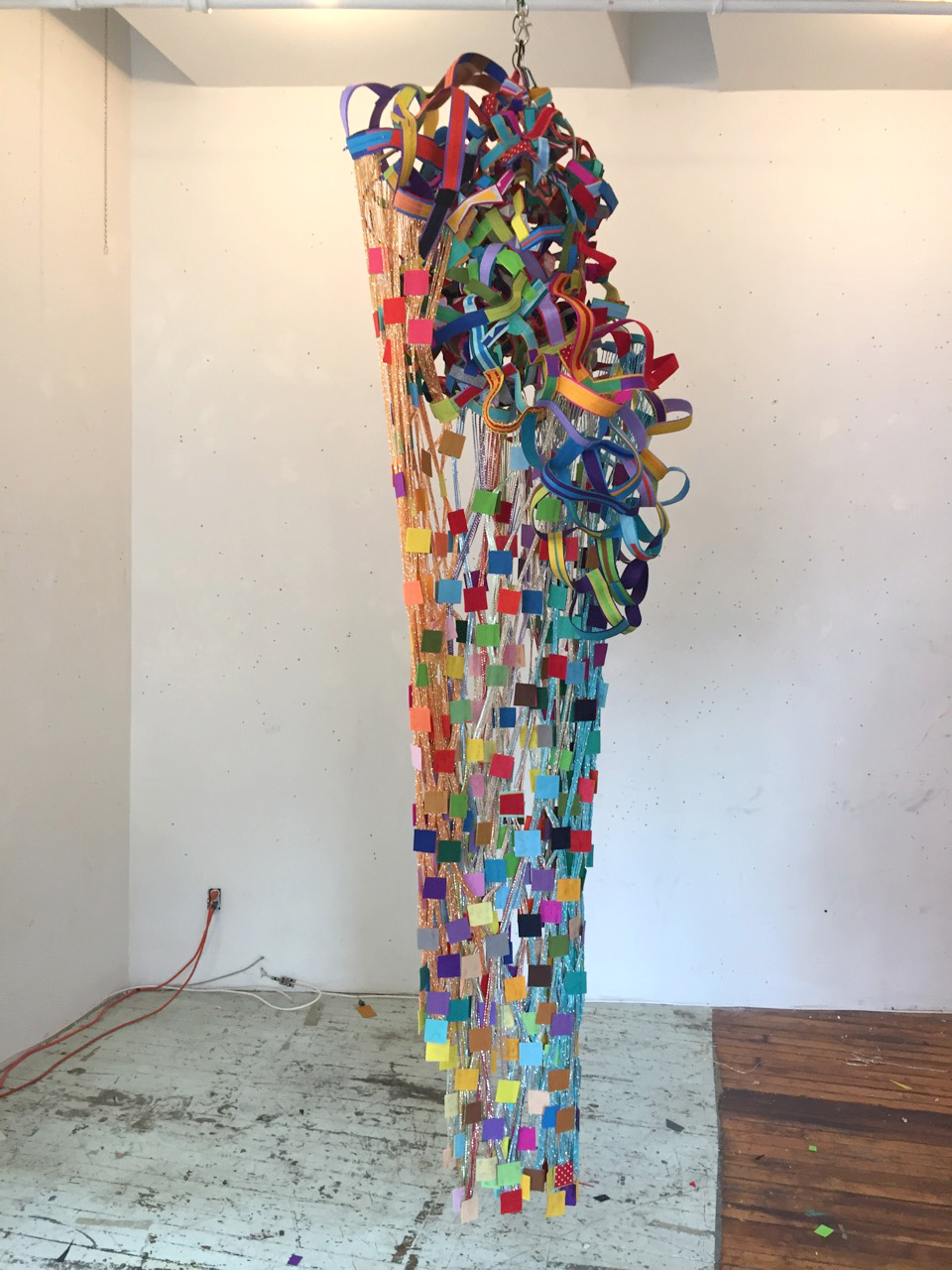 SUTURES When the Rains Came  2018 wire, felt, thread, string, zippers, glue and hardware 120 x 28 x 28 in (304.8 x 71.1 x 71.1 cm) Height is variable Courtesy of Pavel Zoubok Fine Art, New York 2018 Marc Straus Gallery