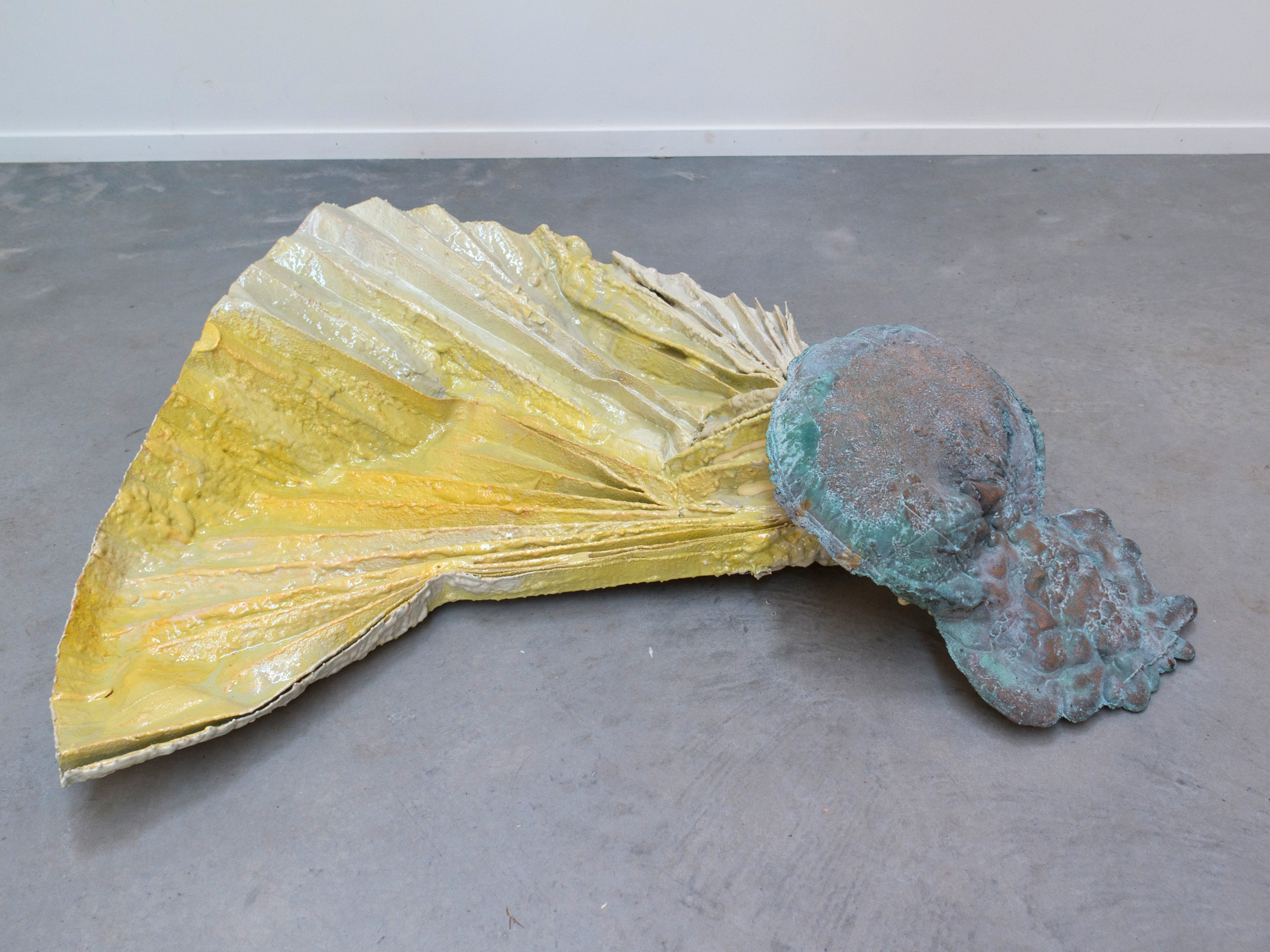 SUTURES Untitled  2018 Textile, bronze, brushable, plastic, pigments 44 x 30 x 10 inches (120 x 100 x 25 cm) 2018 Marc Straus Gallery