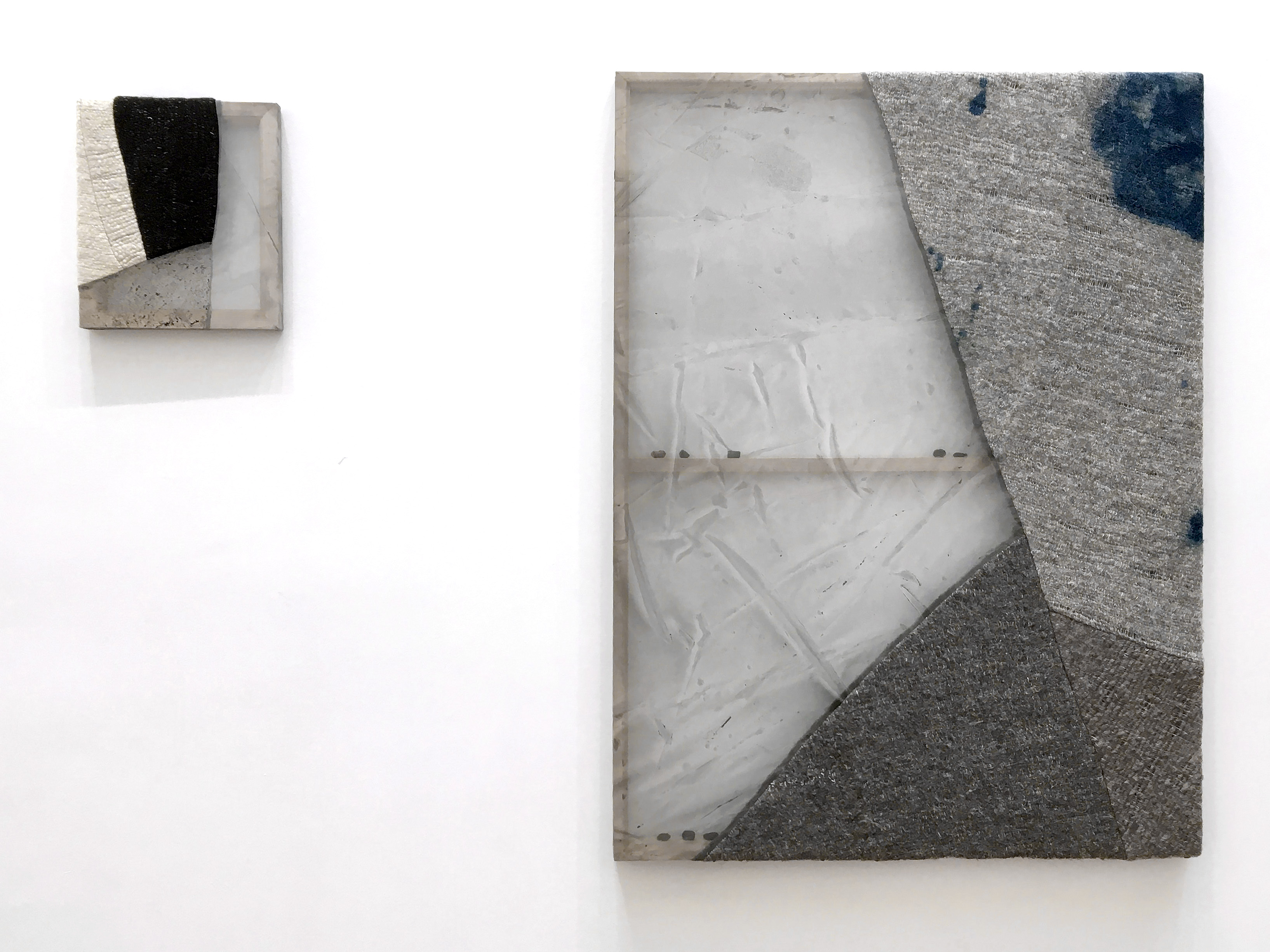 SUTURES Mountains On Mountains 2018 Wool, silk, pigment, dye, obsidian, bronze Left: 12 x 10 in (30.5 x 25.4 cm) Right: 41 x 31 in (104.1 x 78.7 cm) 2018 Marc Straus Gallery