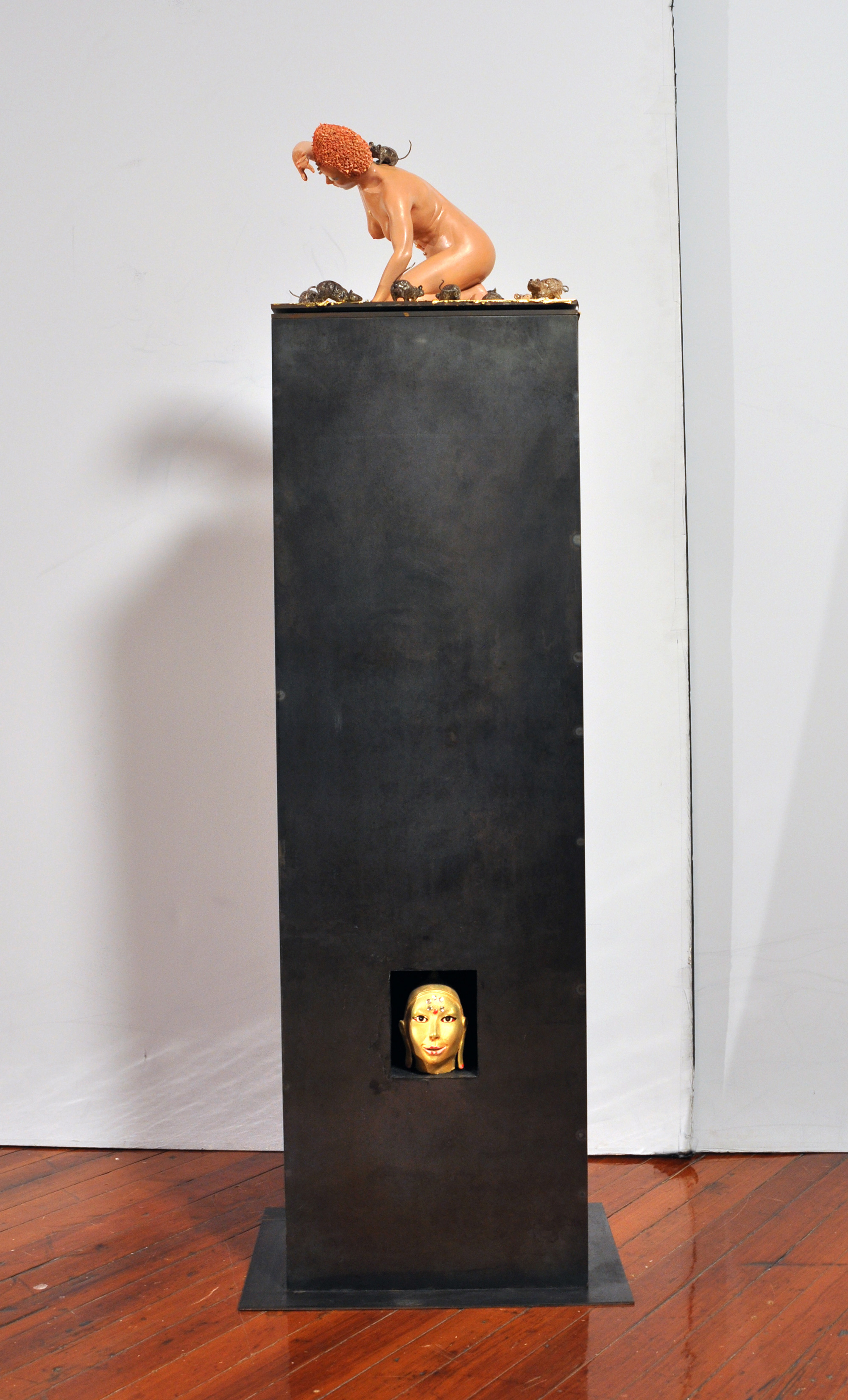 Paul Waldman 2017 Acrylic painted ceramic, glaze, gold leaf, mixed media; base, metal	 55 x 10 x 14 inches 2018 Marc Straus Gallery