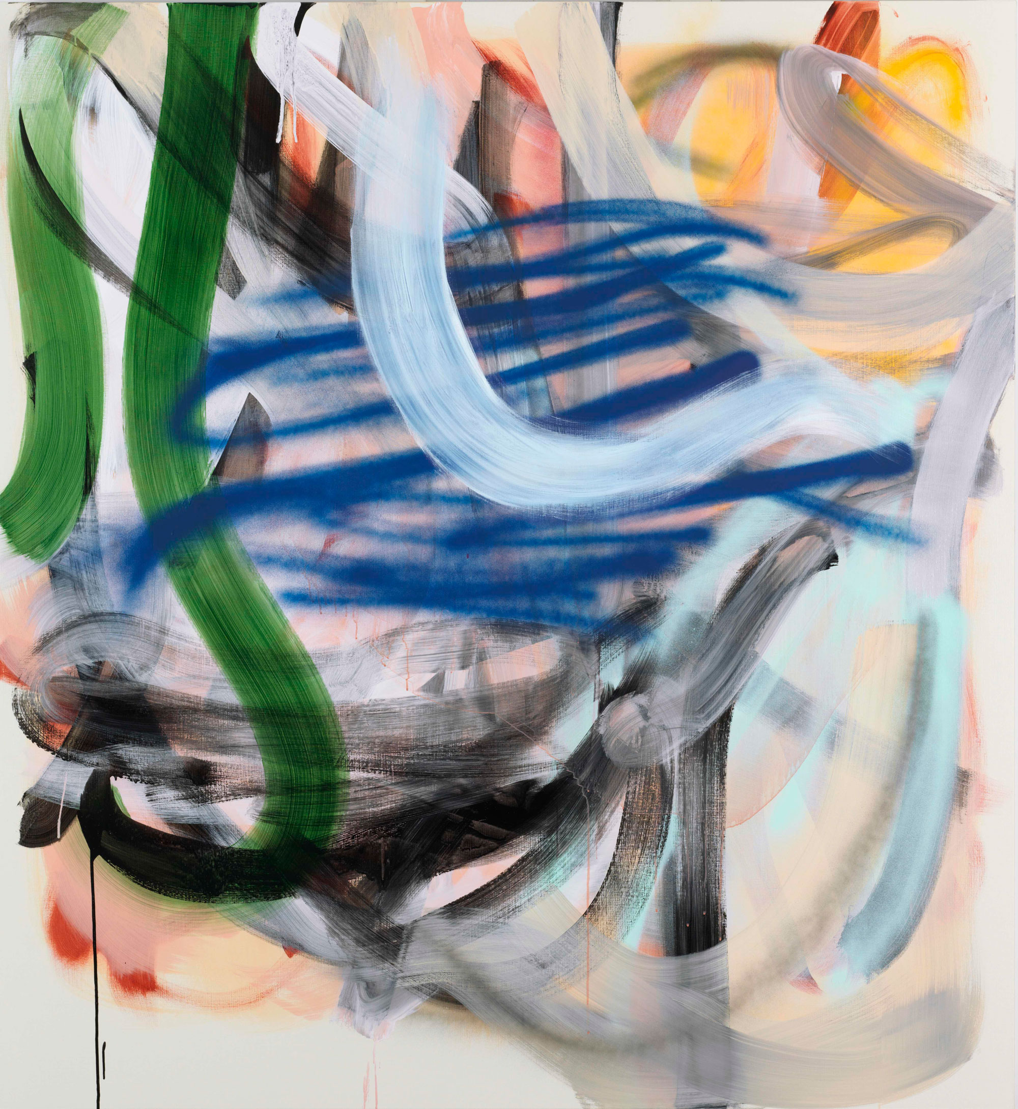 Liliane Tomasko 2019 Acrylic and acrylic spray on linen 76 x 70 in (193 x 177.8 cm) 2019 Marc Straus Gallery