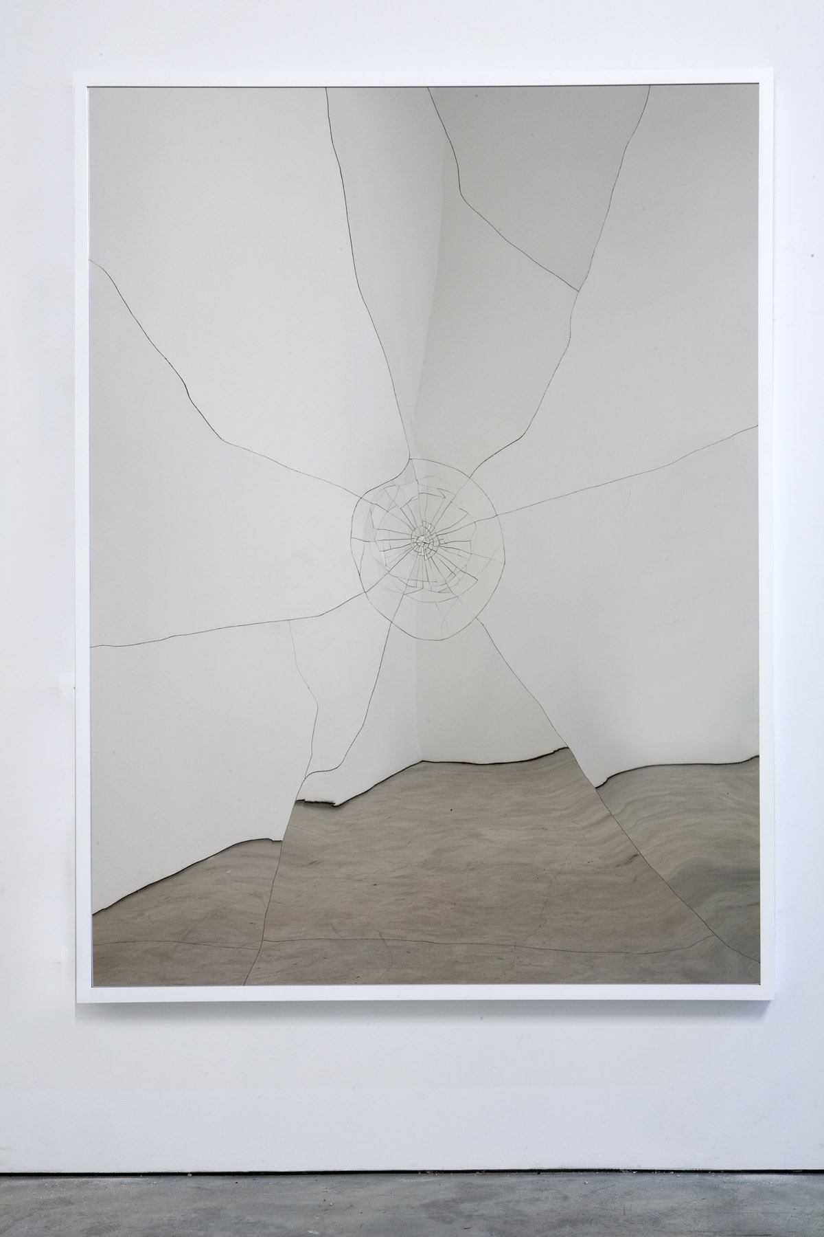 Hand-cut stainless steel on panel, artist's frame 61.3 x 49.75 inches (155.7 x 126.4 cm) - Marc Straus Gallery