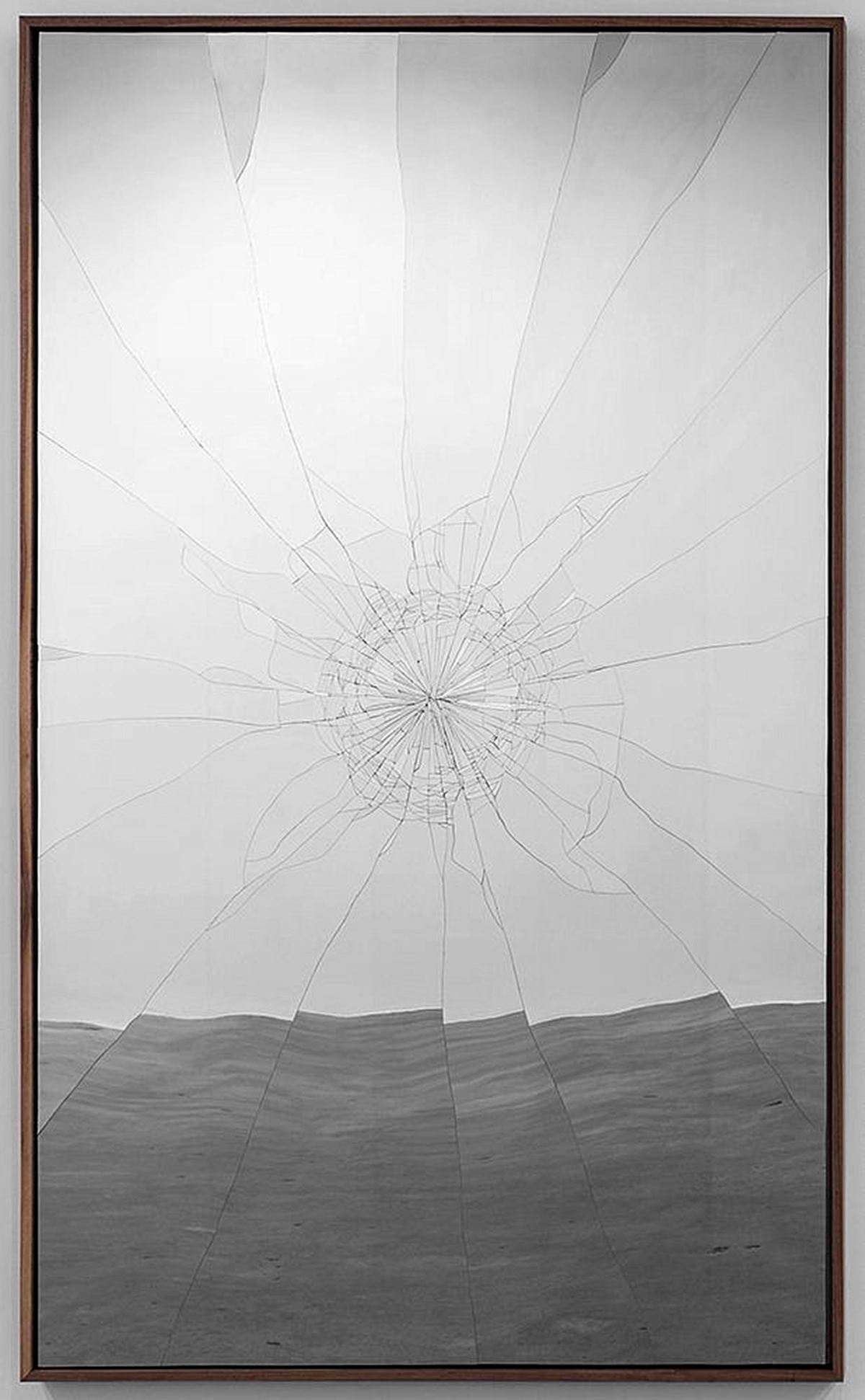 2015-16 Hand-cut stainless steel on panel, walnut frame 80 x 48 x 2.5 inches (121.9 x 203.2 cm) - Marc Straus Gallery