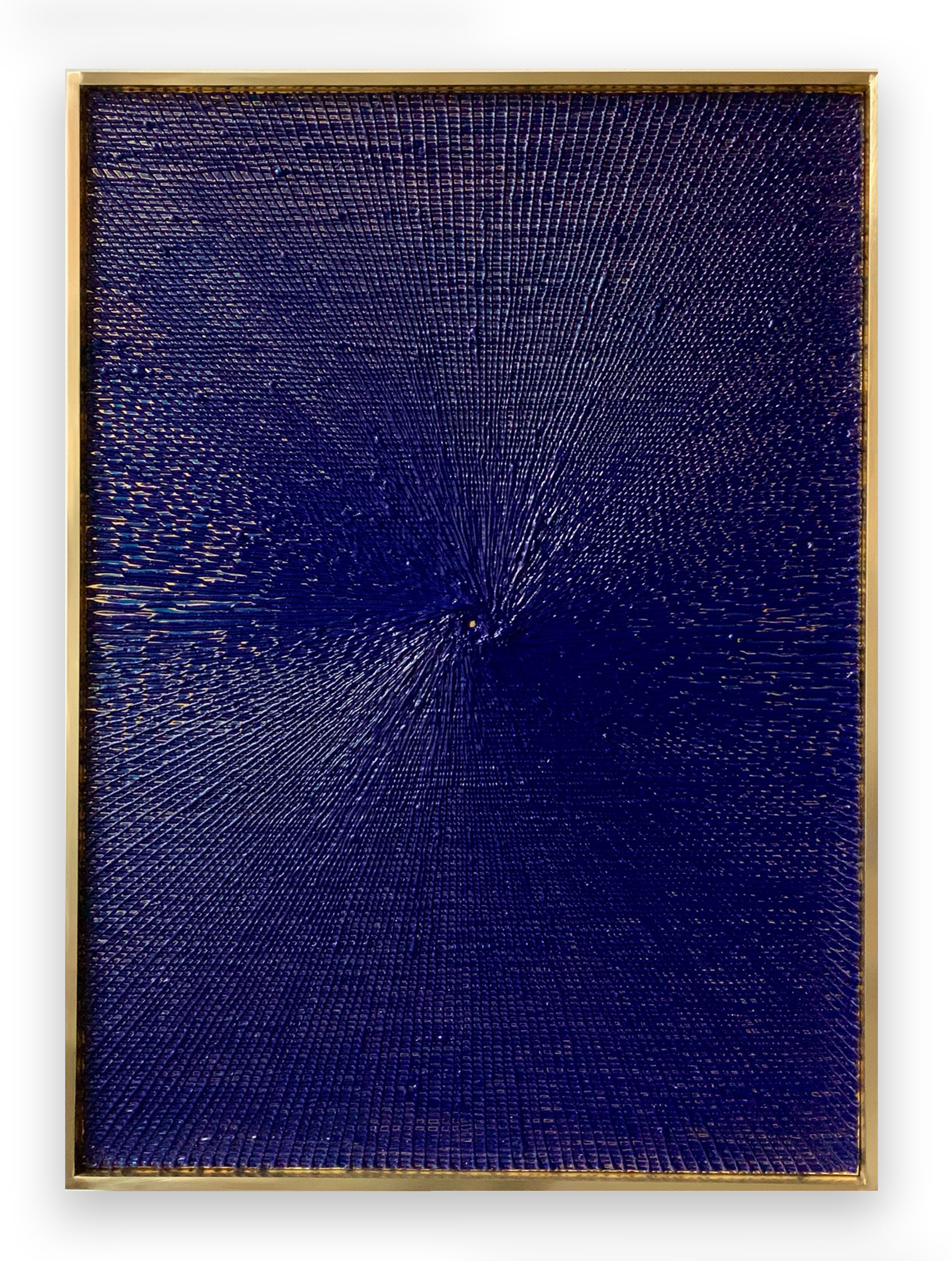 2019 Oil on 24k gold leaf laid on canvas in brass frame 44 x 32 x 2.5 inches (111.8 x 81.3 x 6.4 cm) - Marc Straus Gallery