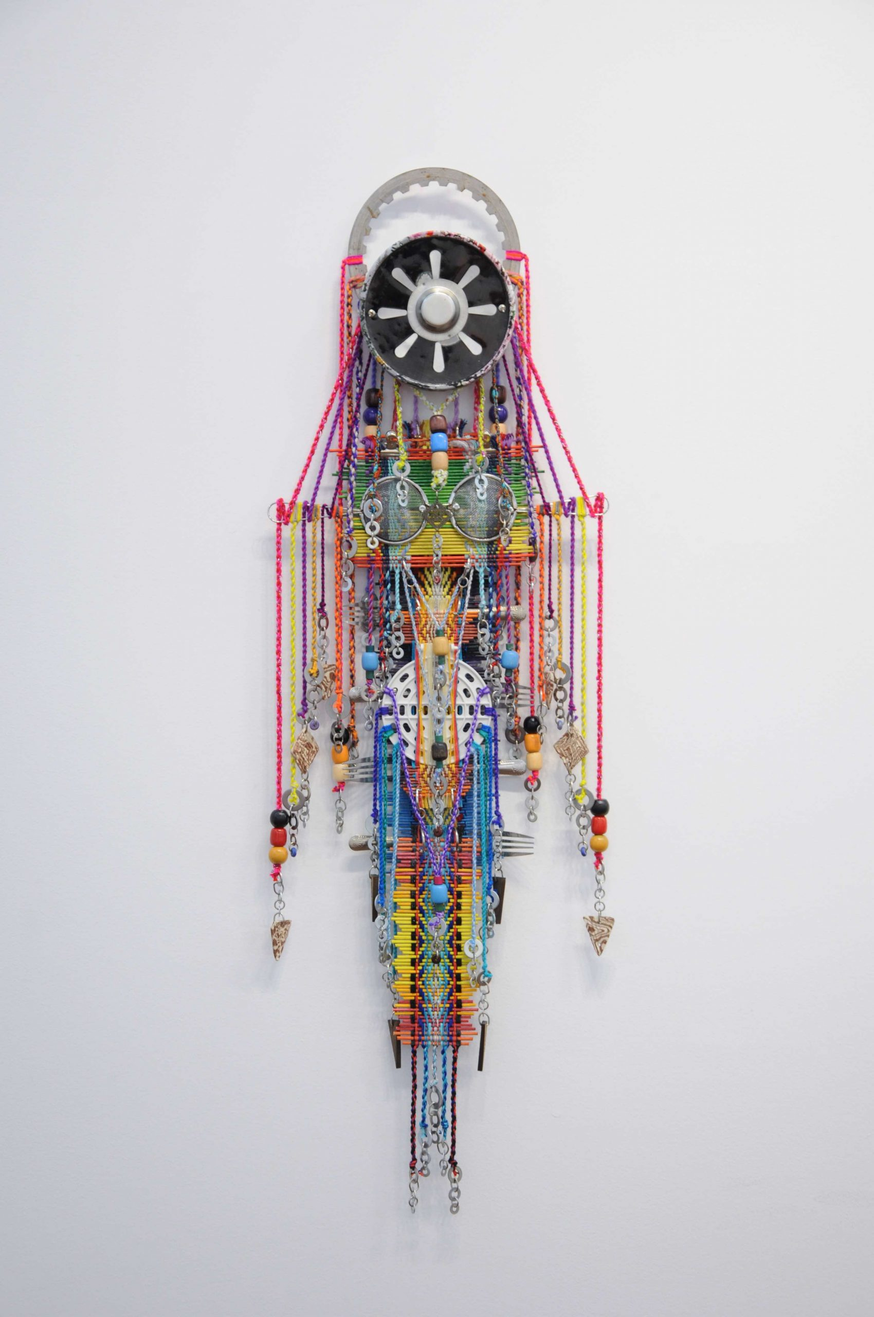 2016 Pattern drafted weaving structures, rattan sticks, yarns, ceramic & wooden beads, wall washers, kitchen utensils 96 x 32cm - Marc Straus Gallery