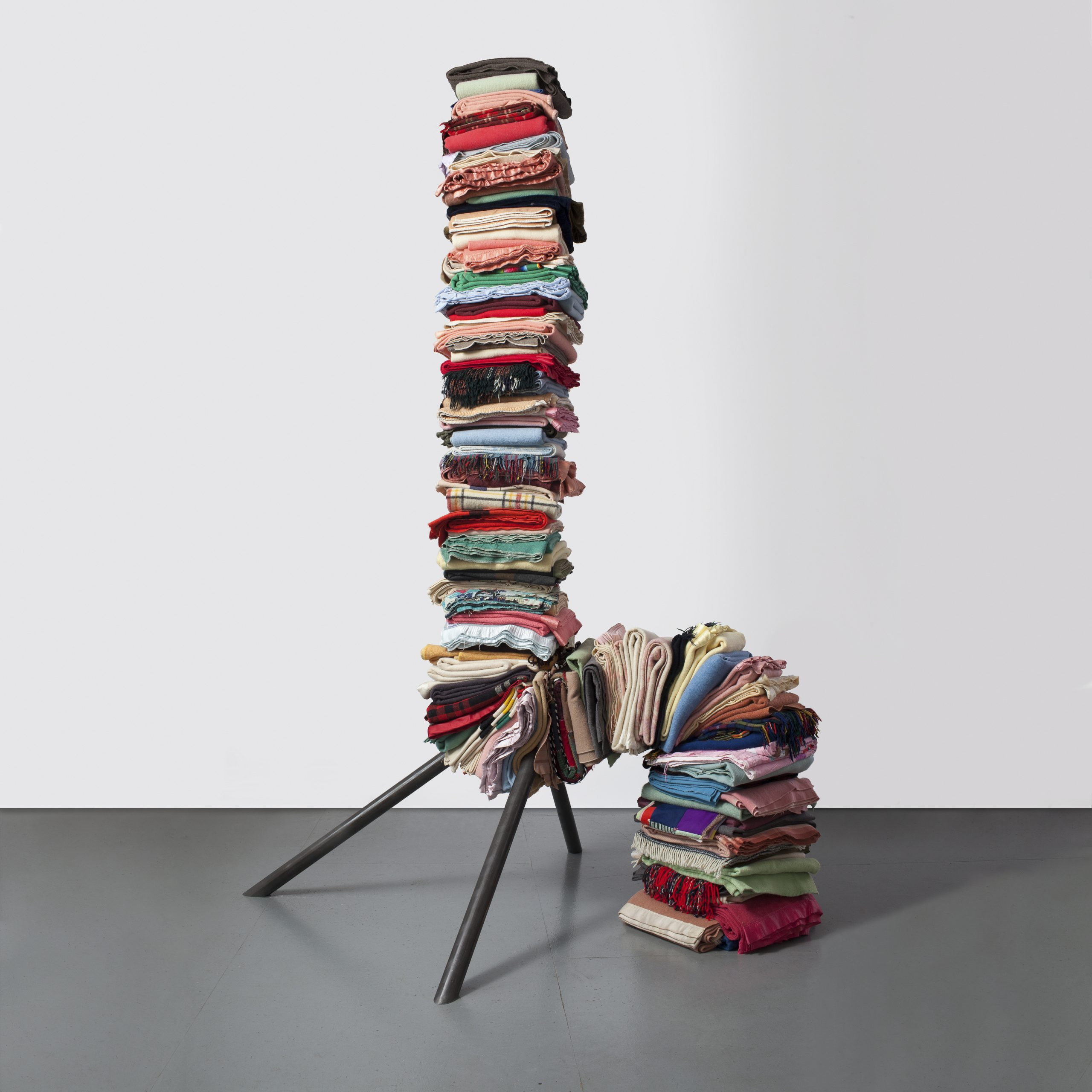 240 x 108 x 48 in. Folded blankets, steel - Marc Straus Gallery