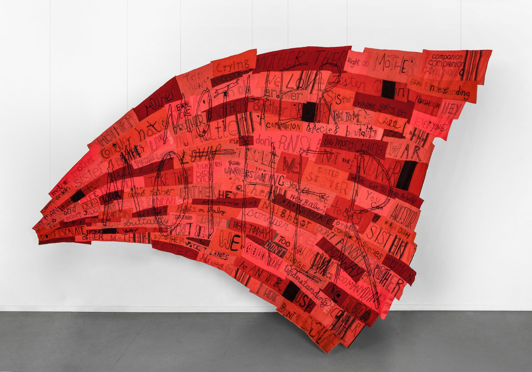 2019 Reclaimed wool blankets, embroidery floss, thread 136 x 198.5 inches (345.4 x 504.2 cm) - Marc Straus Gallery