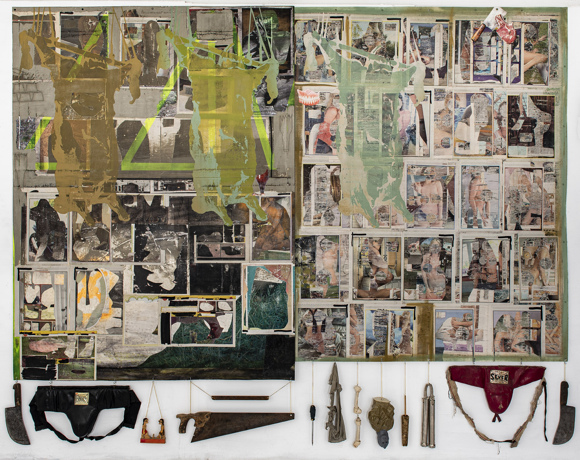 2020 Collage, transfer and enamel on canvas, mixed media, found objects 92.5 x 116 in (234 x 294 cm) - Marc Straus Gallery