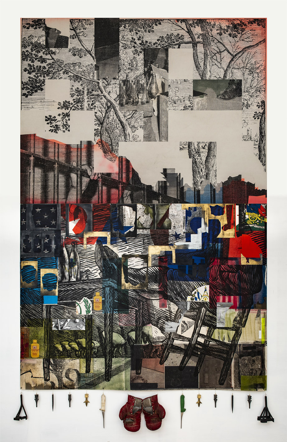 2020 Collage, transfer and enamel on canvas, mixed media, found objects 126 x 79 in (320 x 200 cm) - Marc Straus Gallery