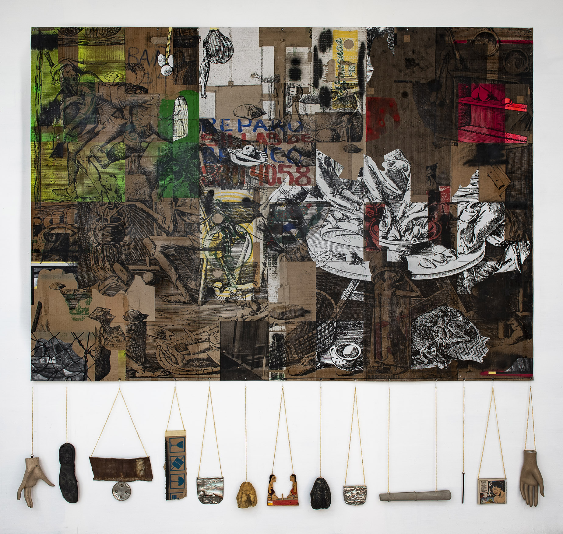 2020 Collage, transfer and enamel on canvas, mixed media, found objects 79 x 79 in (200 x 200 cm) - Marc Straus Gallery