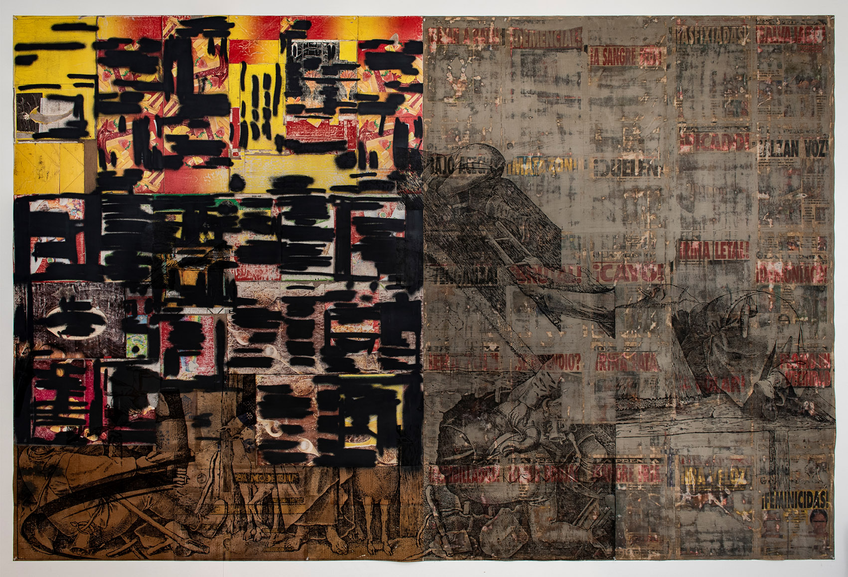 2020 Collage, transfer and enamel on canvas, mixed media, found objects 90 x 118 in (228 x 299 cm) - Marc Straus Gallery