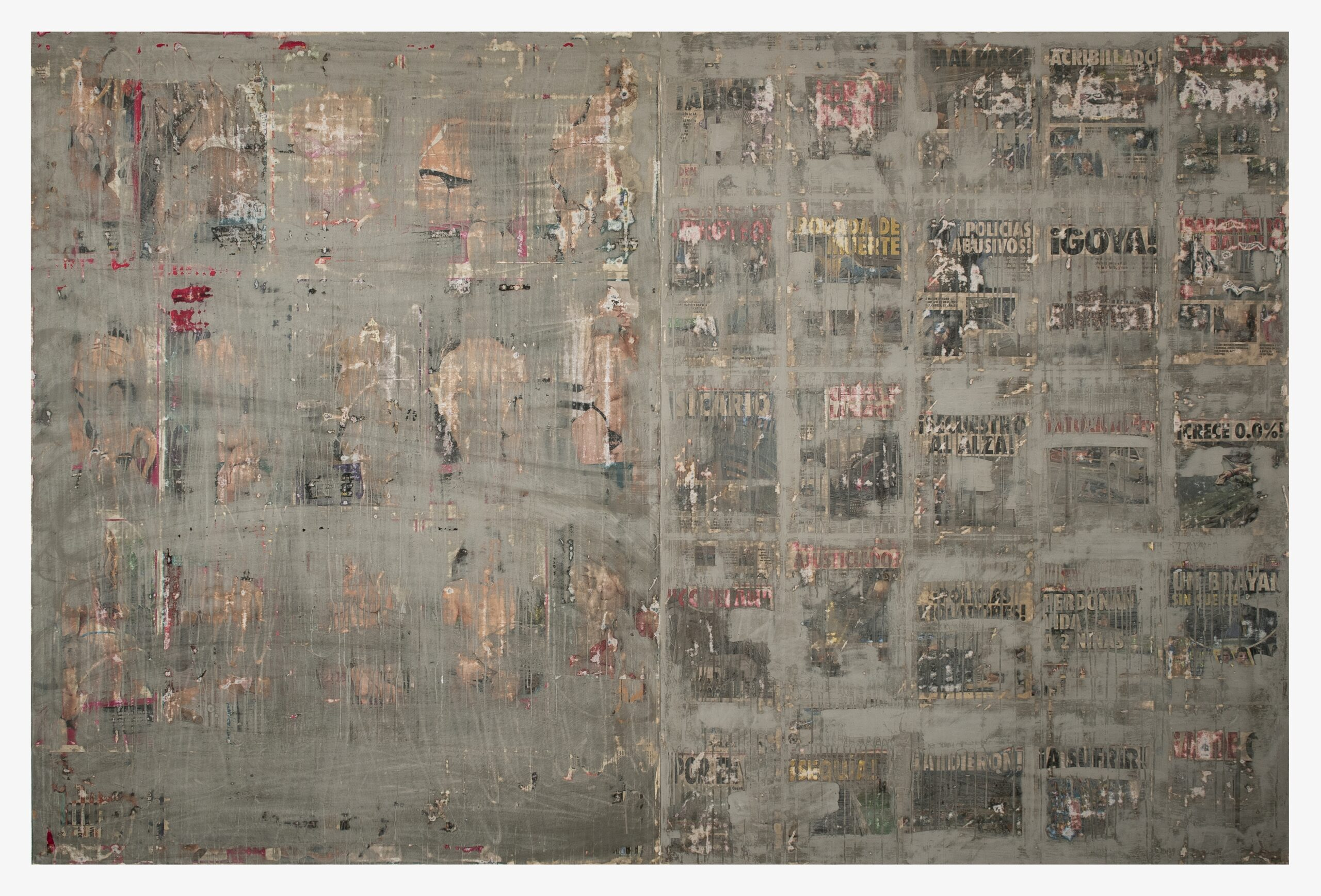 Moris 2020 Collage and concrete on canvas 79 x 118 inches (200 x 300 cm) 2020 Marc Straus Gallery