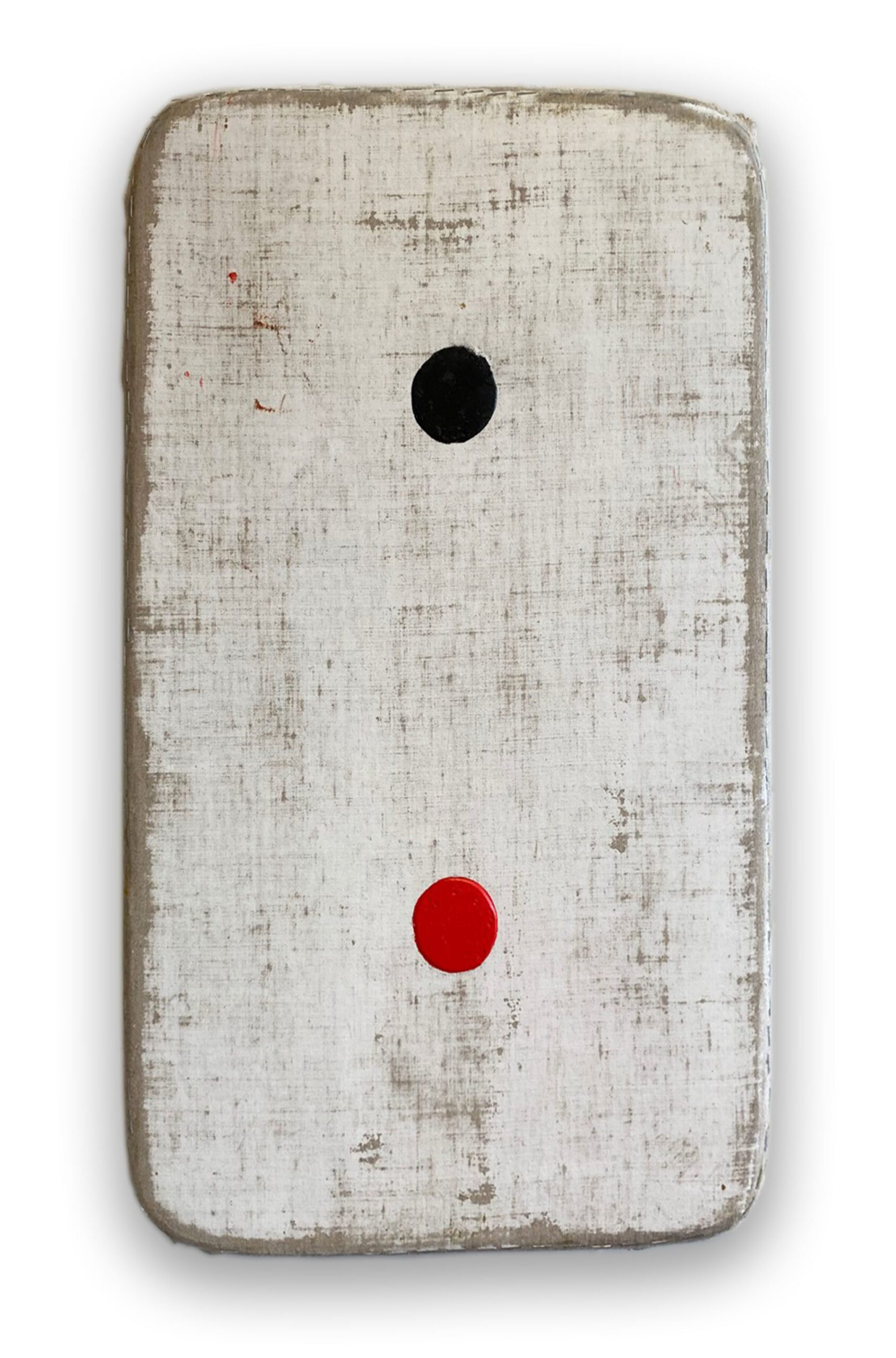 Duck Soup White Rectangle with Black and Red Circles, 2020 Acrylic on linen on wood 24 x 15 x 3 in (61 x 38 x 7.6 cm) 2020 Marc Straus Gallery
