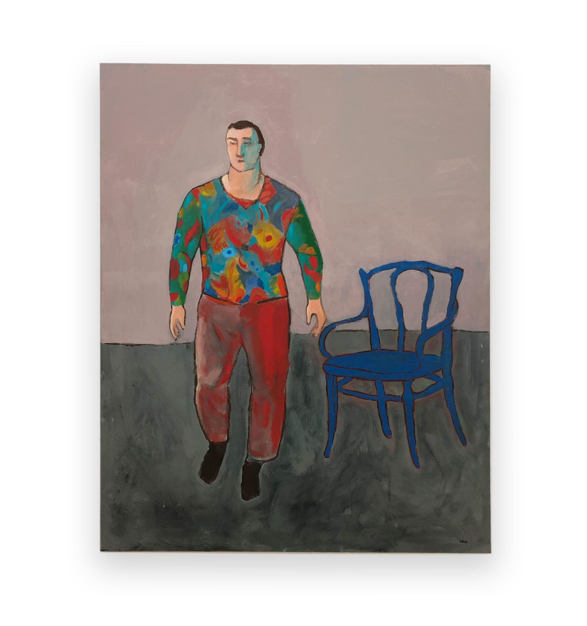 Duck Soup Futuristic Man with a Chair, 2020 Oil on canvas 63 x 51.2 in (160 x 130 cm) 2020 Marc Straus Gallery