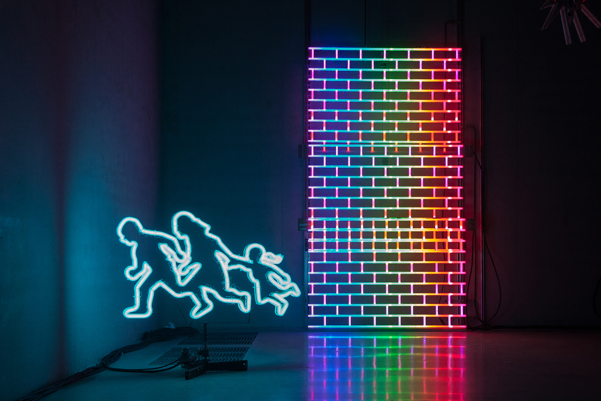 2018 Dimensions variable. Motors, LEDs, microcontroller, and radio module.  - Marc Straus Gallery