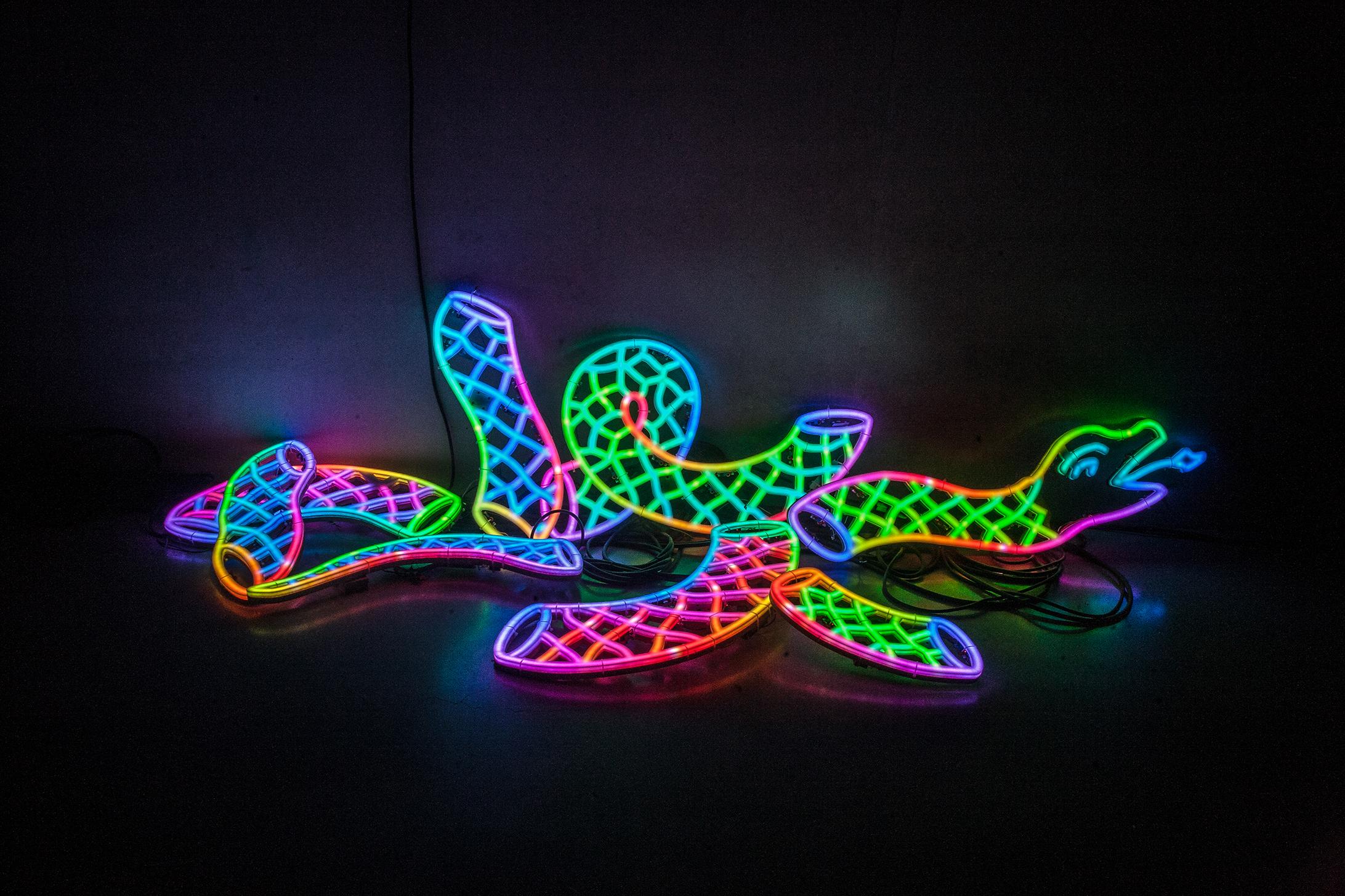 2018 Neon light 171 7/10 × 66 9/10 in (436 × 170 cm) - Marc Straus Gallery