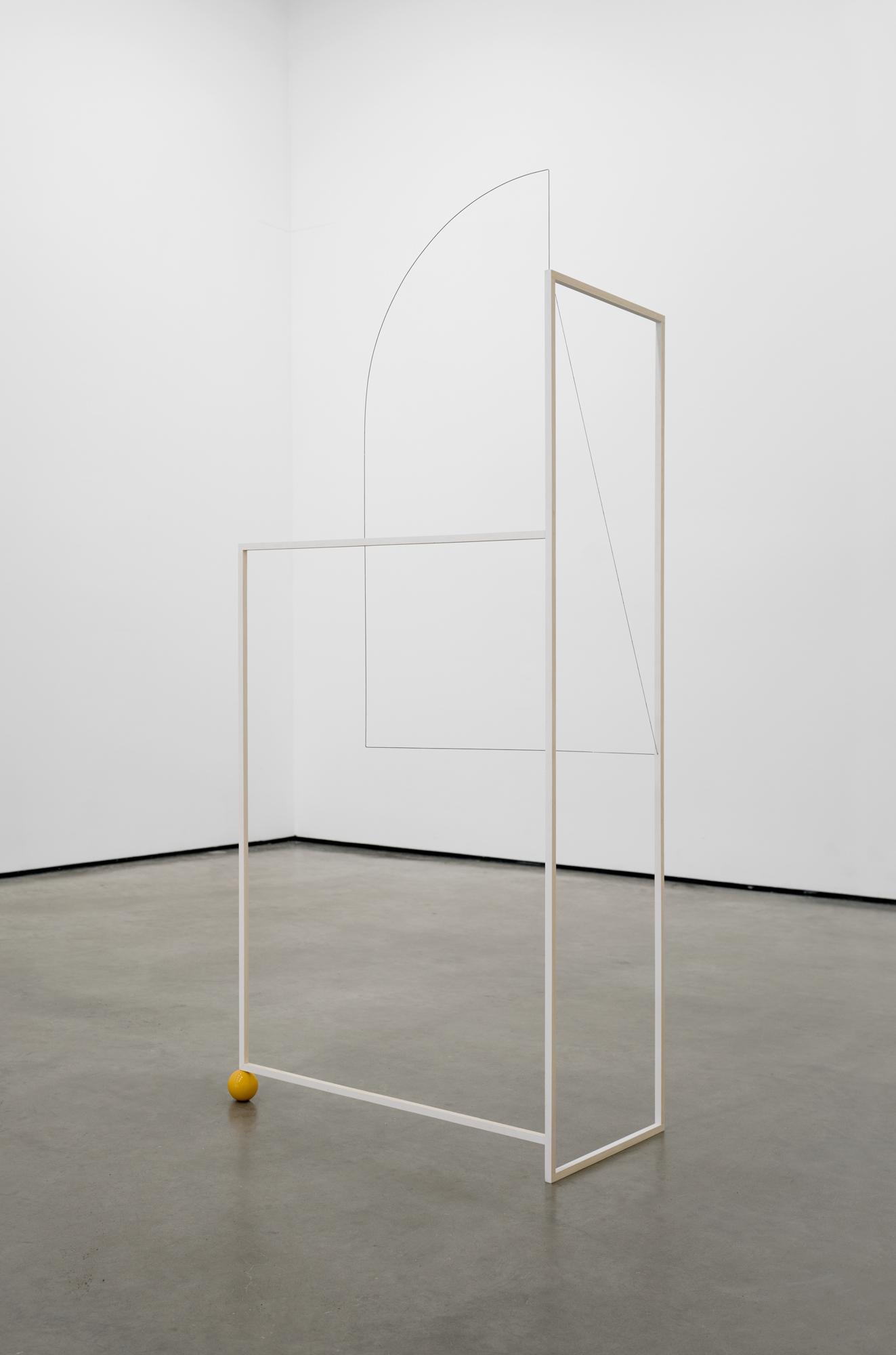 Jong Oh 2021 Wood, paint, metal rod, string, billiard ball. 59.5 x 25.5 x 14 in. 2021 Marc Straus Gallery