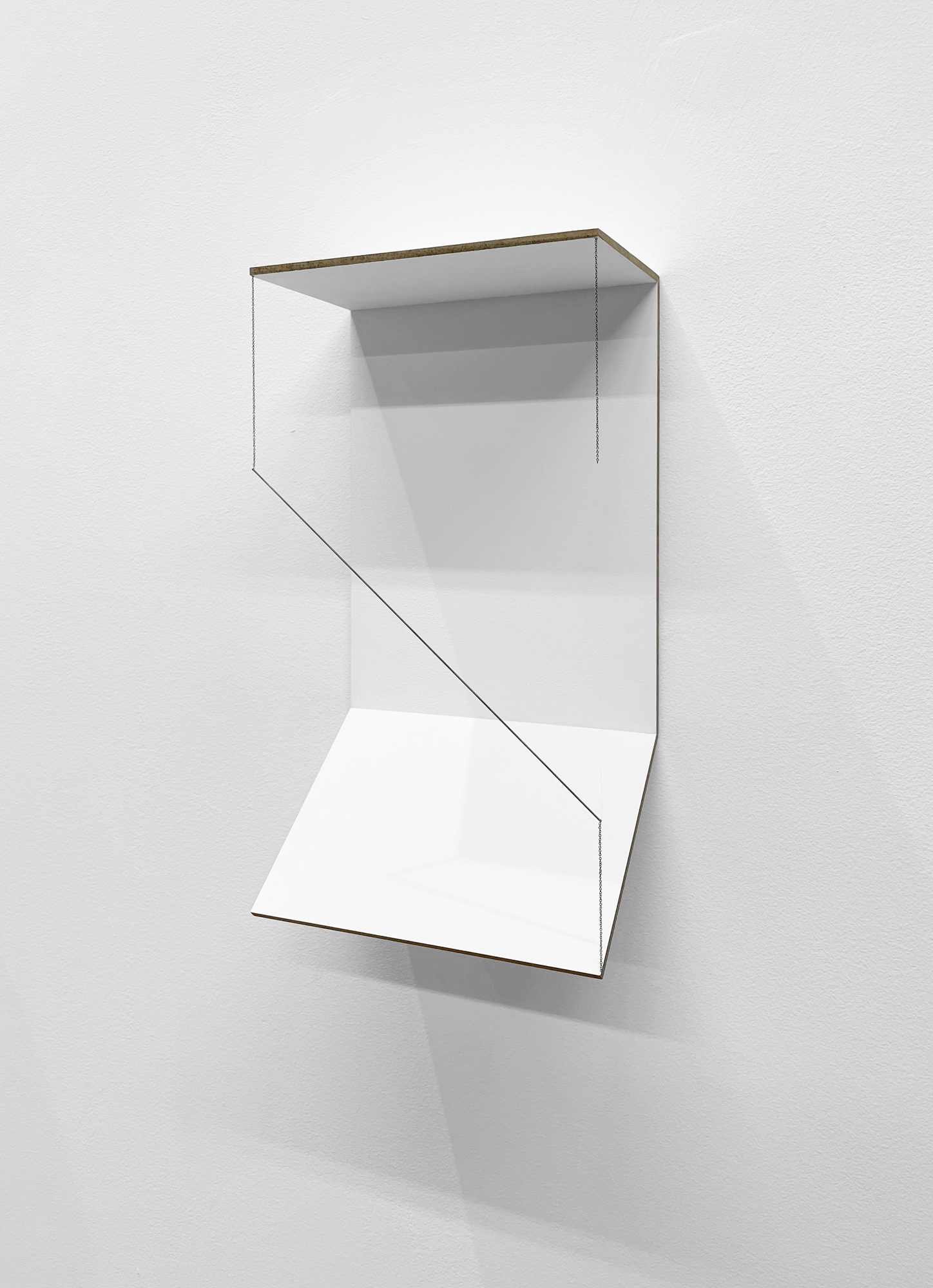 Jong Oh 2021 Wood panel, paint, metal rod, chain 10.25 x 5.5 x 3 in. 2021 Marc Straus Gallery