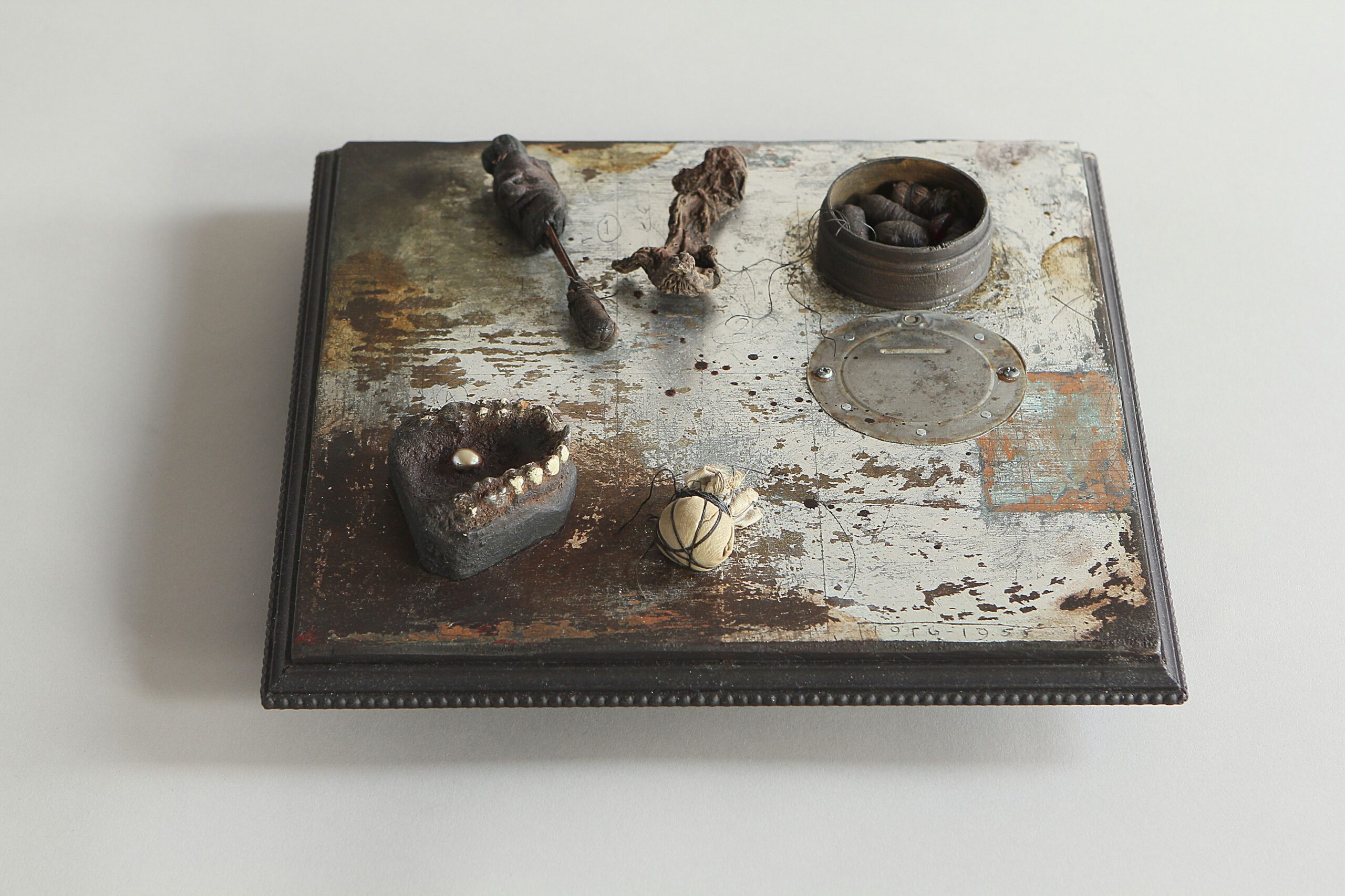 2013 Wood construction, latex paint, silver metal leaf, orris root and found objects  3 x 11.5 x 11 in. - Marc Straus Gallery