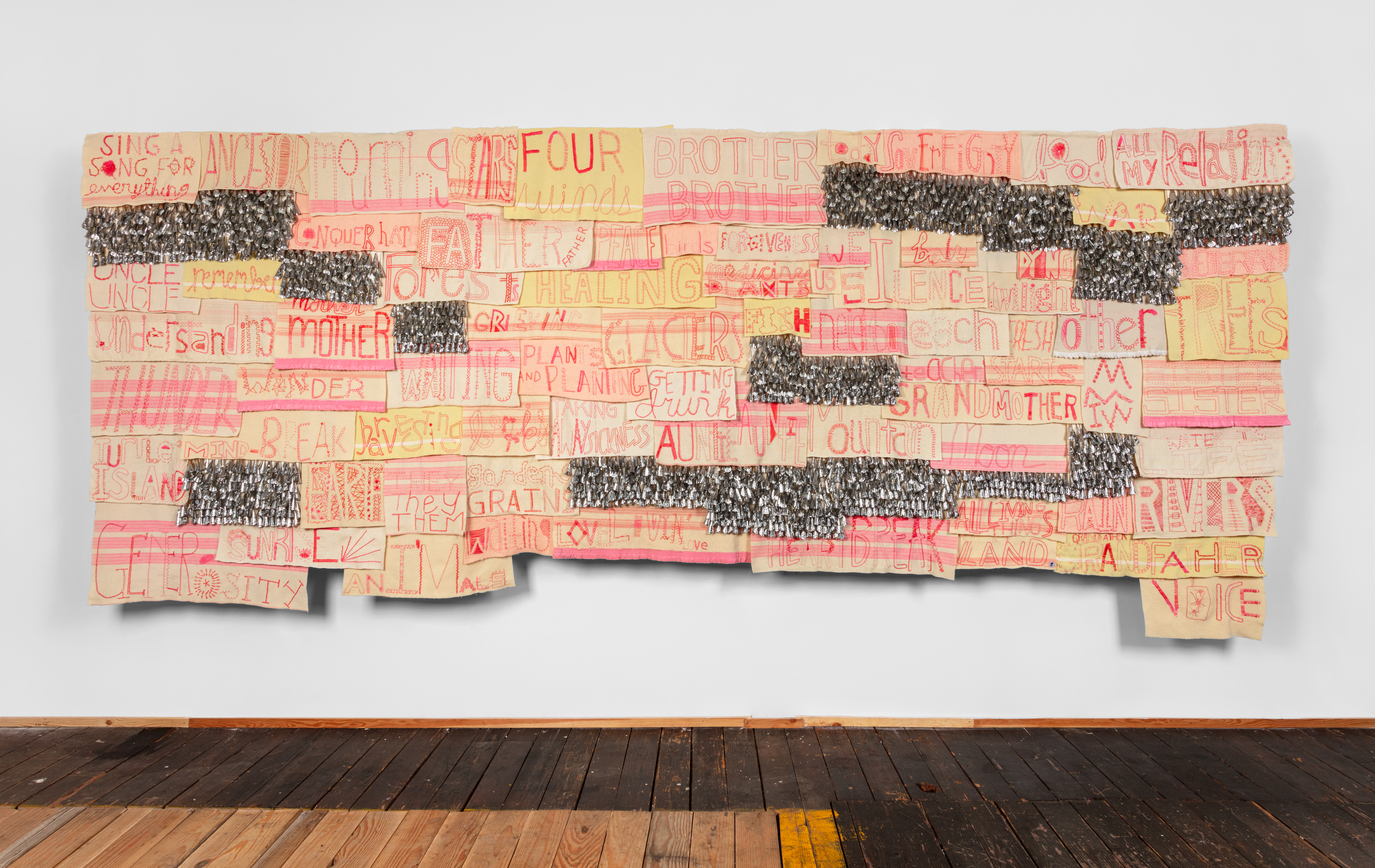 Marie Watt (b. 1967) Reclaimed wool blankets, embroidery floss, thread, cotton twill tape, tin jingles  82 x 194 inches  (208.28 x 492.76 cm) Photography by Kevin McConnell - Marc Straus Gallery