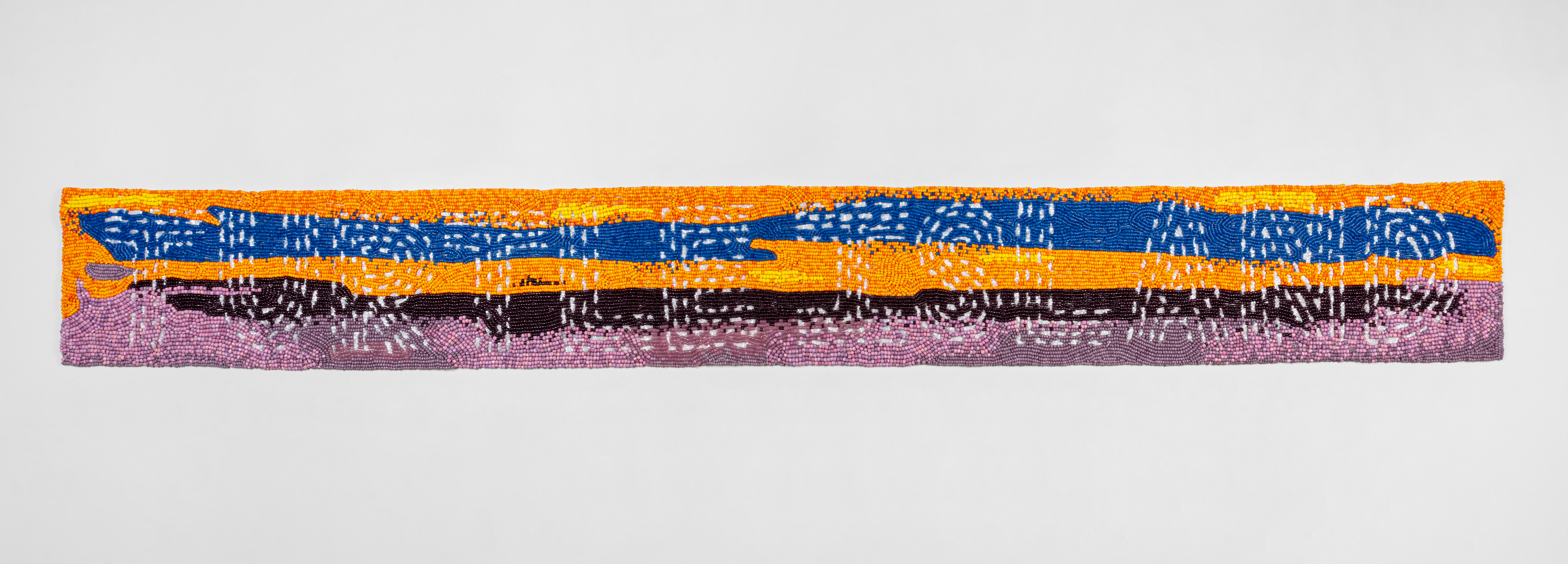 Marie Watt (b. 1967) Vintage Italian glass beads, industrial felt, thread  13.5 x 112 inches  (34.29 x 284.48 cm) Photography by Kevin McConnell - Marc Straus Gallery