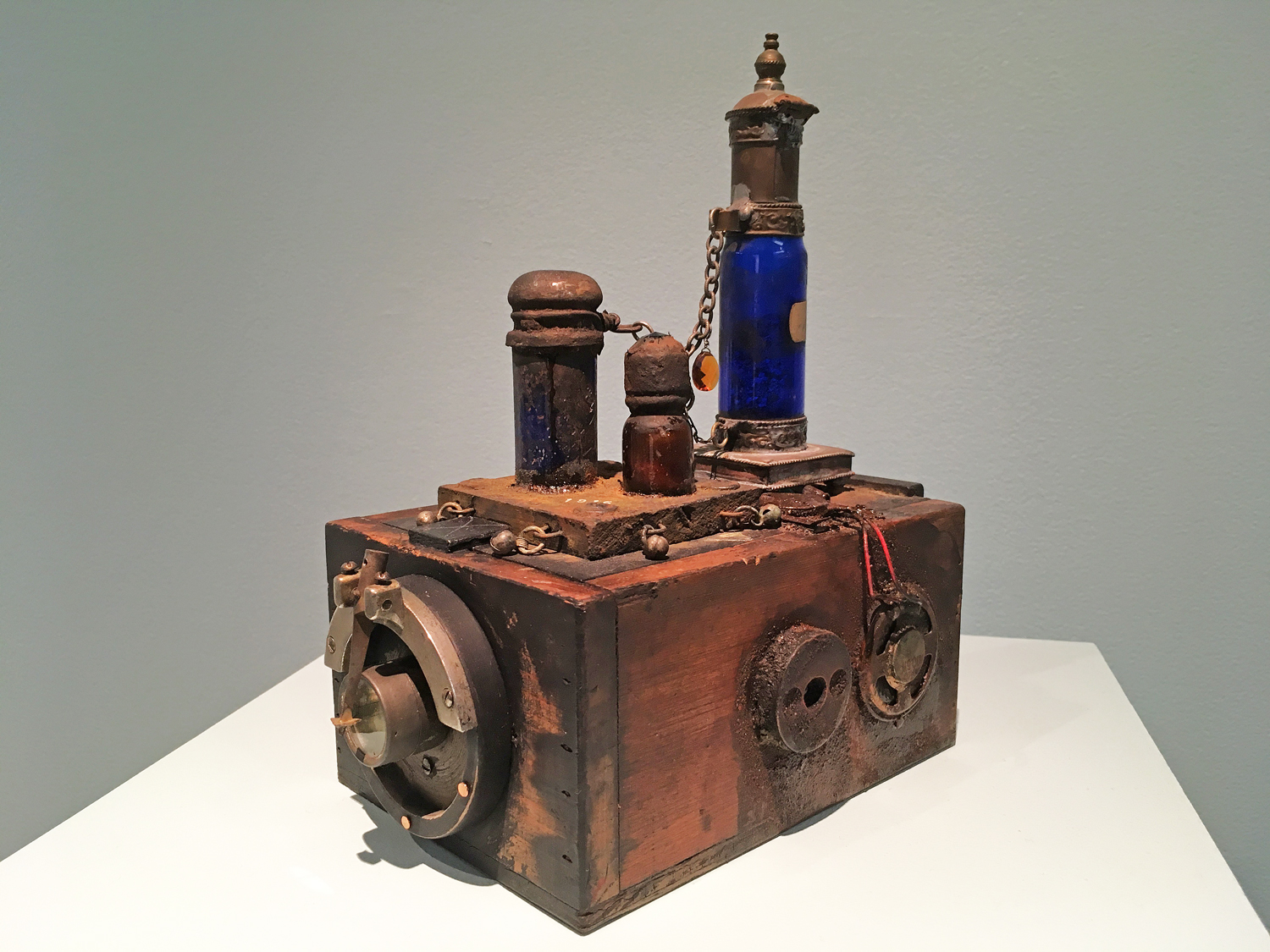 The Pattern of Patience 2018 Mixed media assemblage with bottle containing organic materials. 8 3/4 x 8 3/4 x 5 in. 2021 Marc Straus Gallery