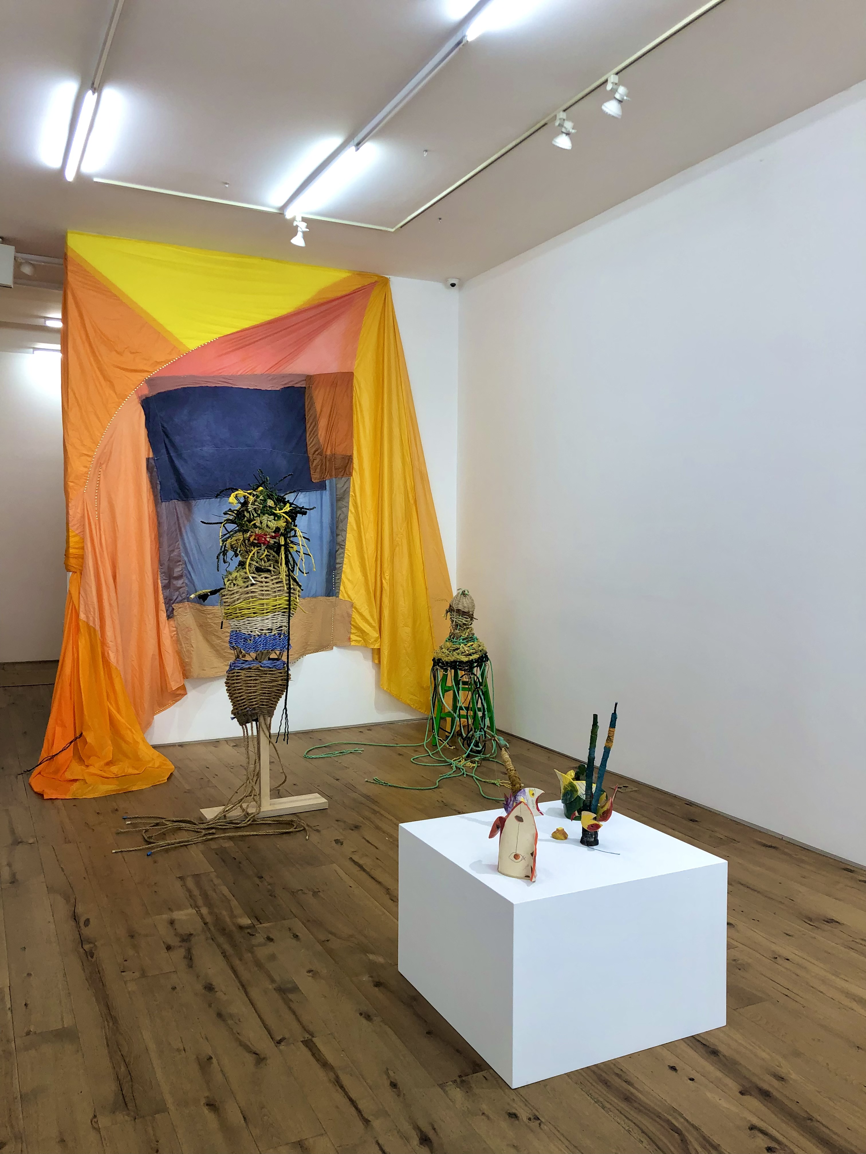 The Pattern of Patience Tamar Ettun 2021 Hand dyed parachute fabric and metallic gold tacks Dimensions variable 2021 Marc Straus Gallery