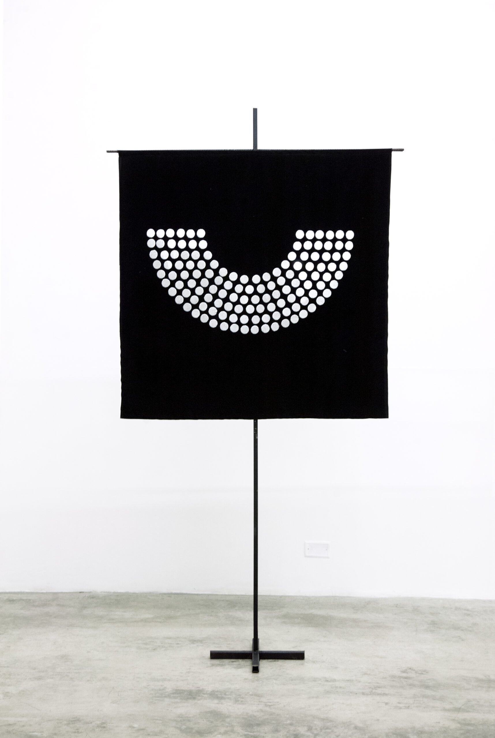 The Pattern of Patience José Luis Martinat 2021 Silver metal wire on velvet and metal structure. 66.9 x 49.2 in (170 cm x 125 cm). 2021 Marc Straus Gallery