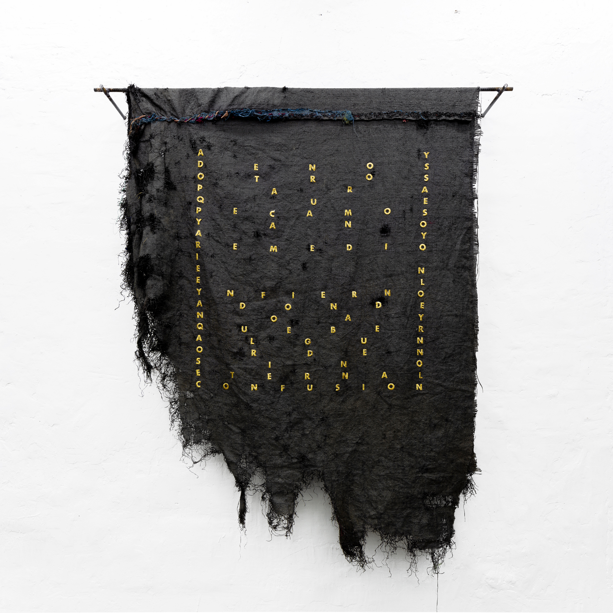 The Pattern of Patience Jose Luis Martinat 2021 Silver metal wire on velvet and metal structure. 66.9 x 49.2 in (170 cm x 125 cm). 2021 Marc Straus Gallery