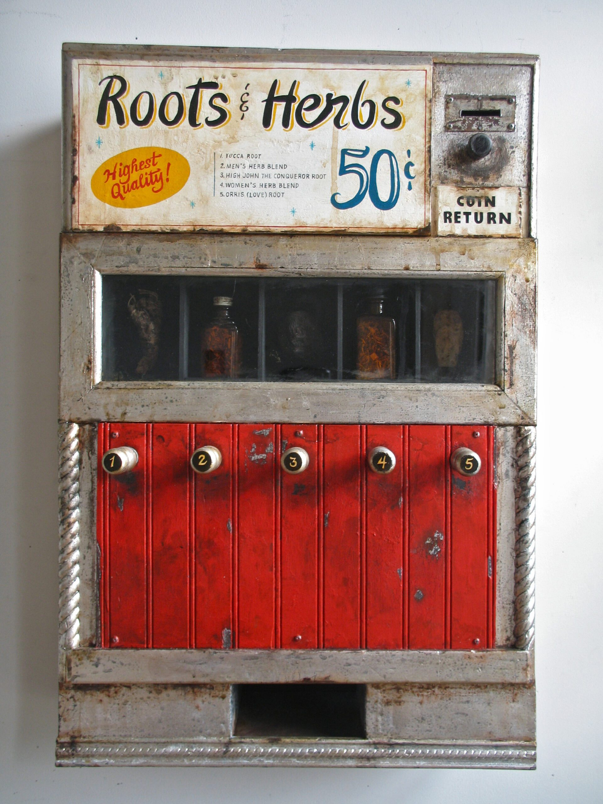 Renée Stout 2013 Wood construction, acrylic paint, silver metal leaf, glass, roots and bottles containing organic materials 27 x 16 x 7 in (64.8 x 43.2 x 15.2 cm) 2021 Marc Straus Gallery
