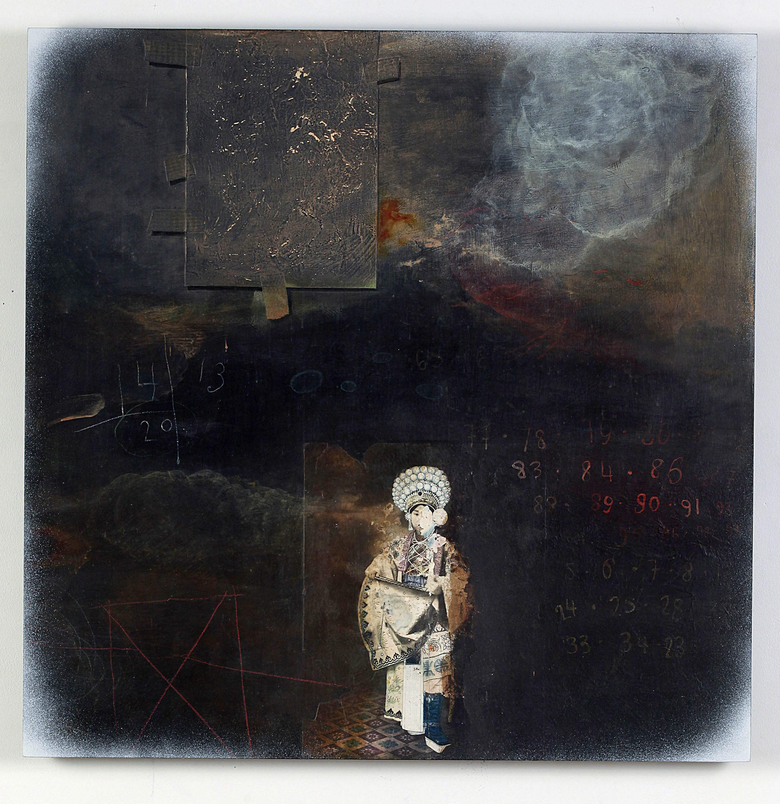 Renée Stout 2013 Acrylic paint and collaged vintage photograph on wood panel 24 x 24 in (60.9 x 60.9 cm) 2021 Marc Straus Gallery