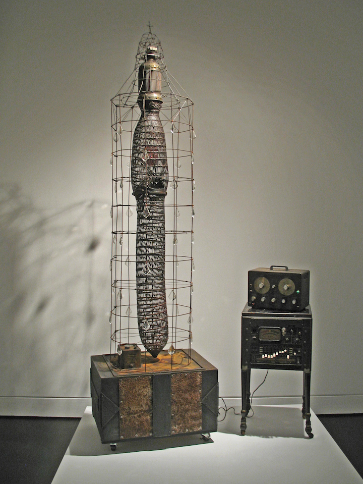 2015 Found wire, wood, latex paint, crystals, glass, metal and found technology 96 x 50 x 18 in. - Marc Straus Gallery