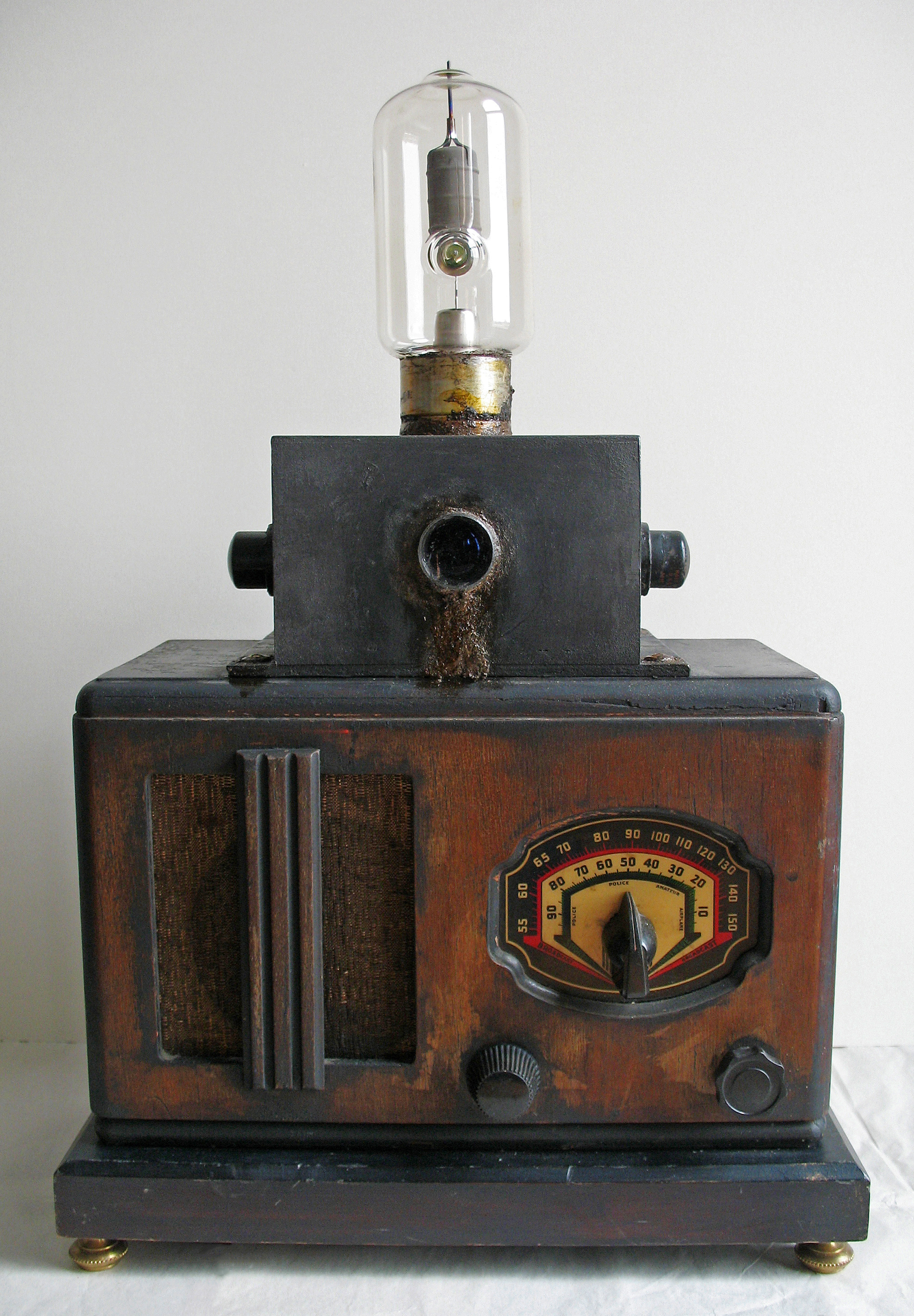 Renée Stout 2014 A construction featuring a found radio body, found technological parts, wood, paint, soil, graphite and mixed media 19 x 12.8 x 7 in (48.3 x 32.5 x 17.8 cm) 2021 Marc Straus Gallery